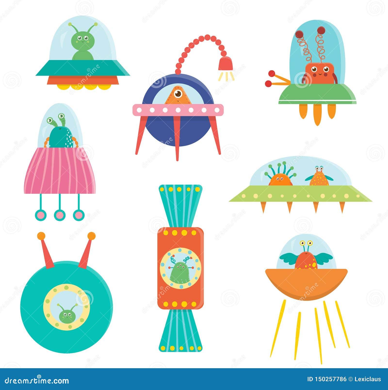 Grupo de estrangeiros bonitos, UFO do vetor, pires de voo para crianças