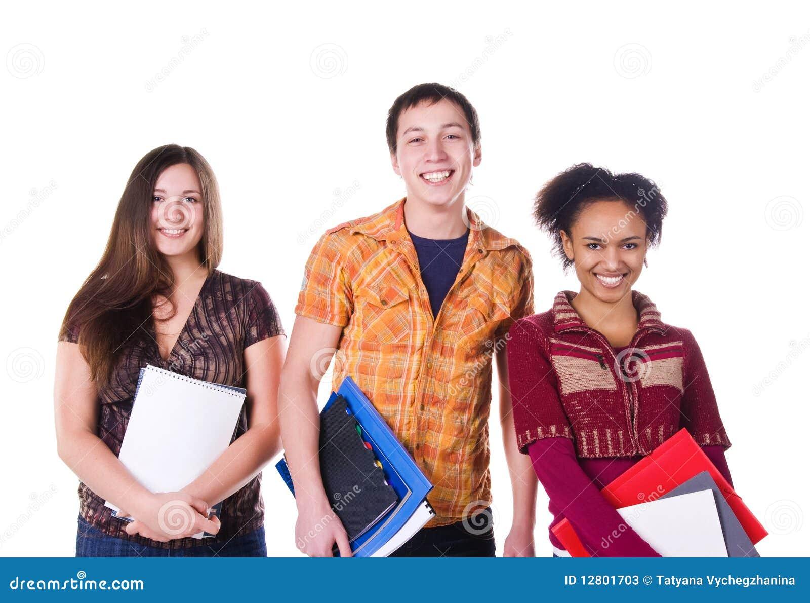 Grupo de estudante isolado