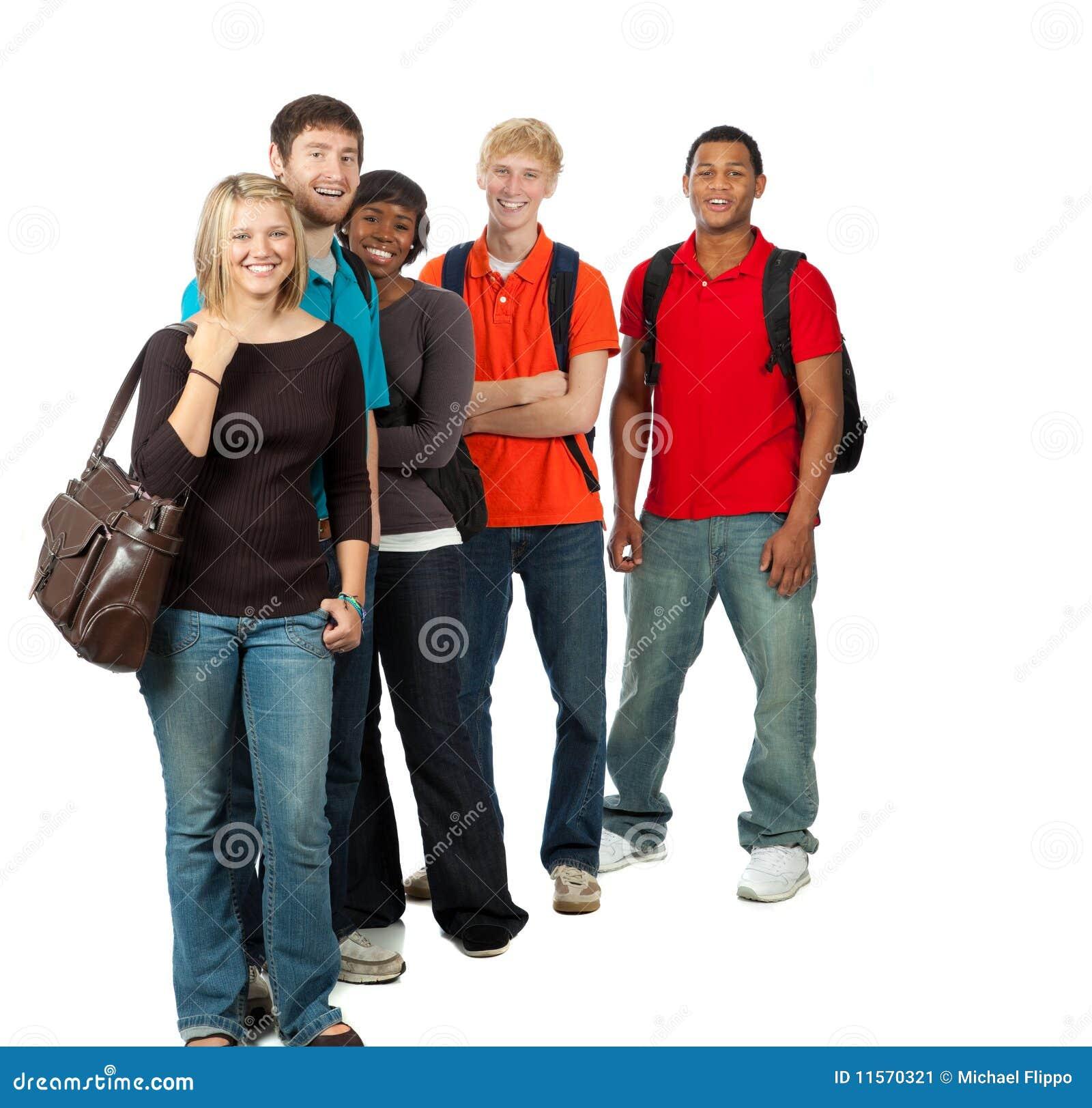 Grupo de estudantes universitários multi-racial