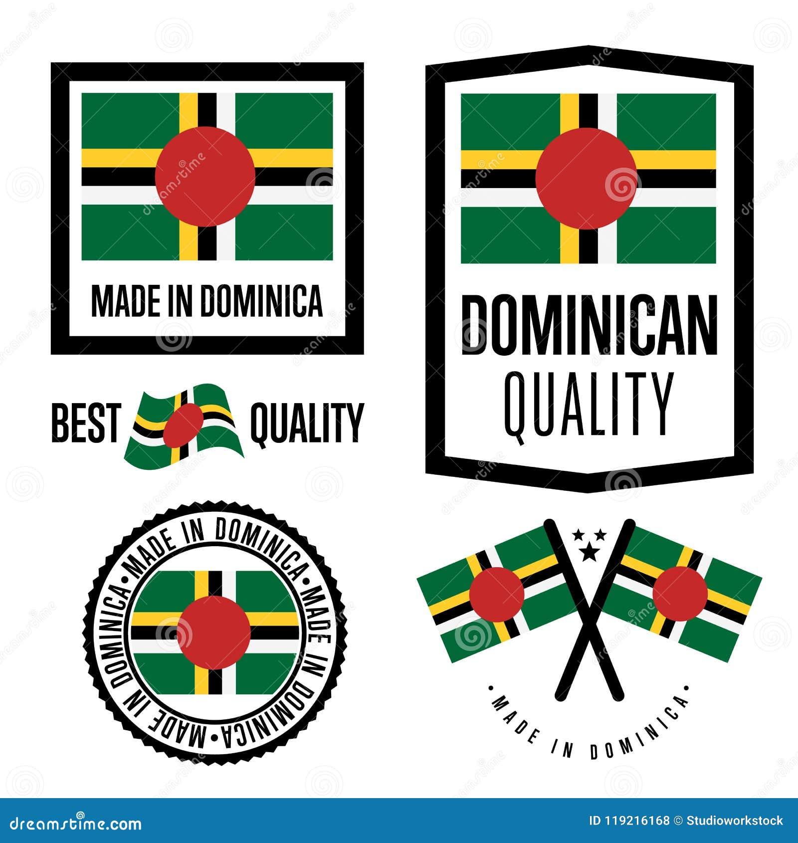 Grupo de etiqueta da qualidade de Domínica para bens