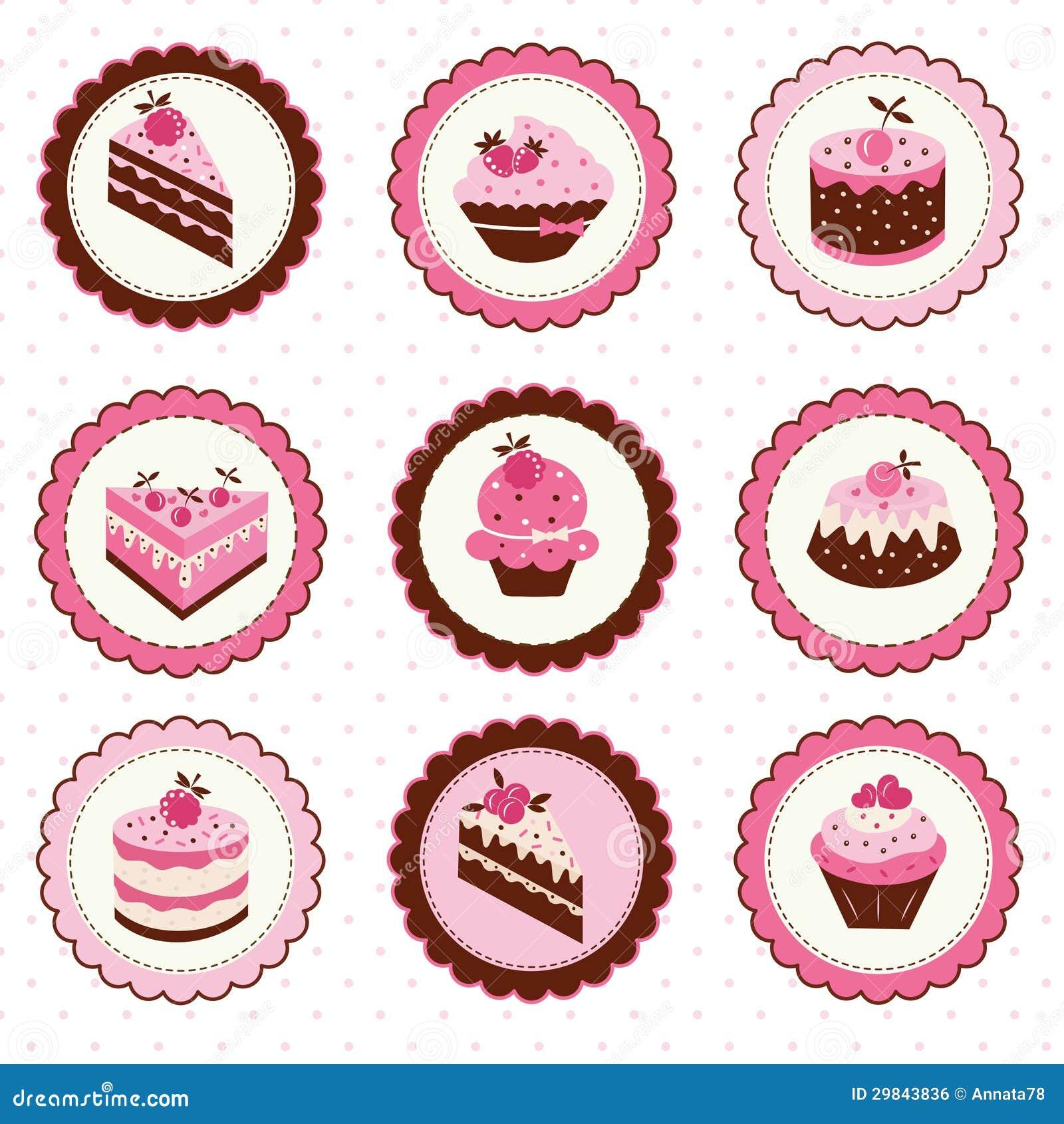 Grupo de etiquetas dos bolos