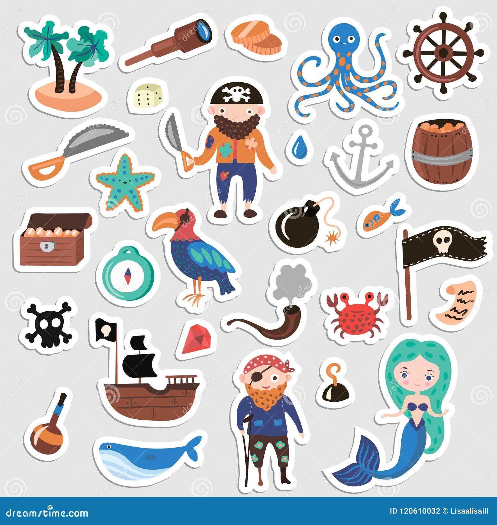 Grupo De Etiquetas Dos Desenhos Animados Do Vetor Dos Piratas