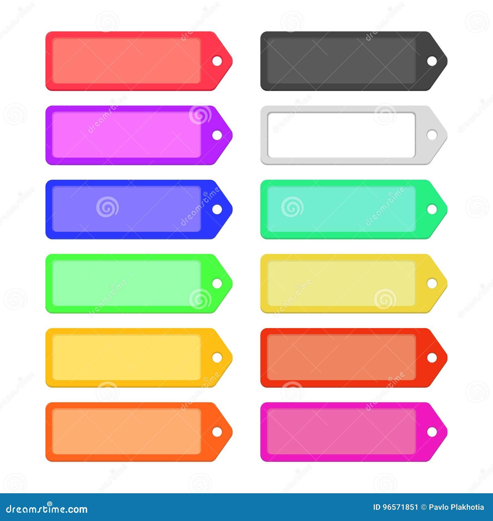 Grupo de etiquetas lisas coloridas das fitas para o projeto
