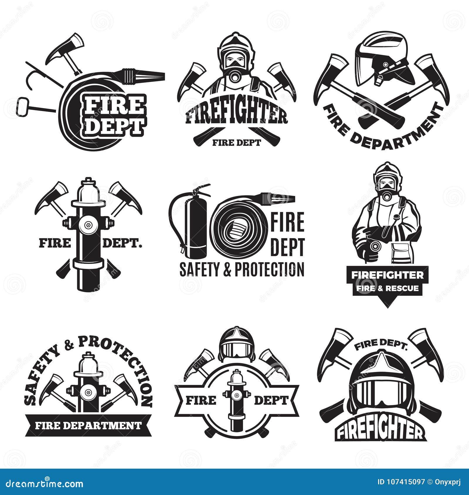 Grupo de etiquetas monocromático para o departamento dos bombeiros retratos