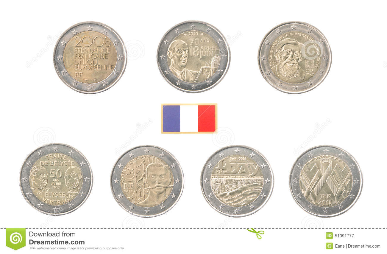 Grupo de 2 euro moedas comemorativas de fran a foto de - Stock piastrelle 2 euro ...