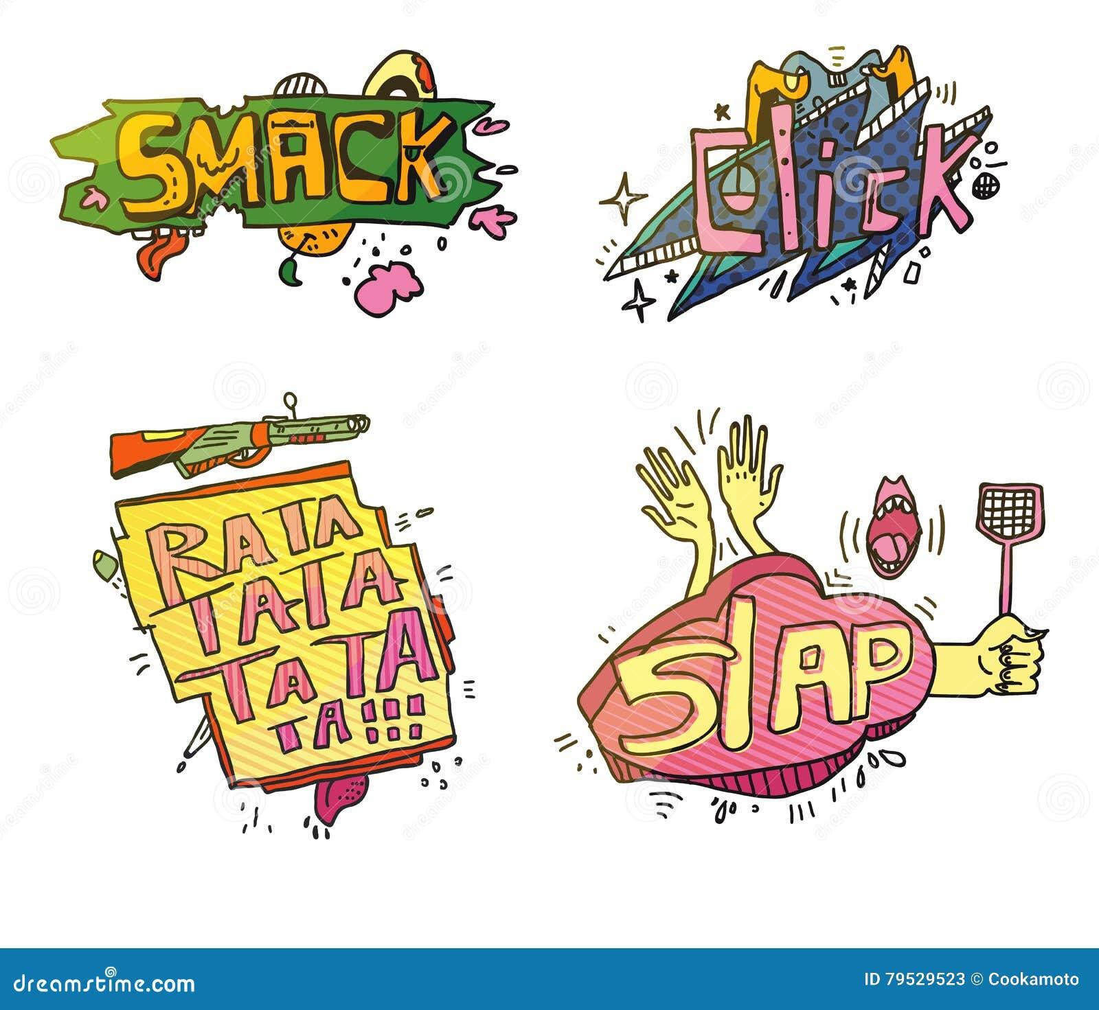 Grupo de exclamação dos desenhos animados do comix Estalar para o esmagamento ou fruto sensacional com pé, clique da nuvem para o