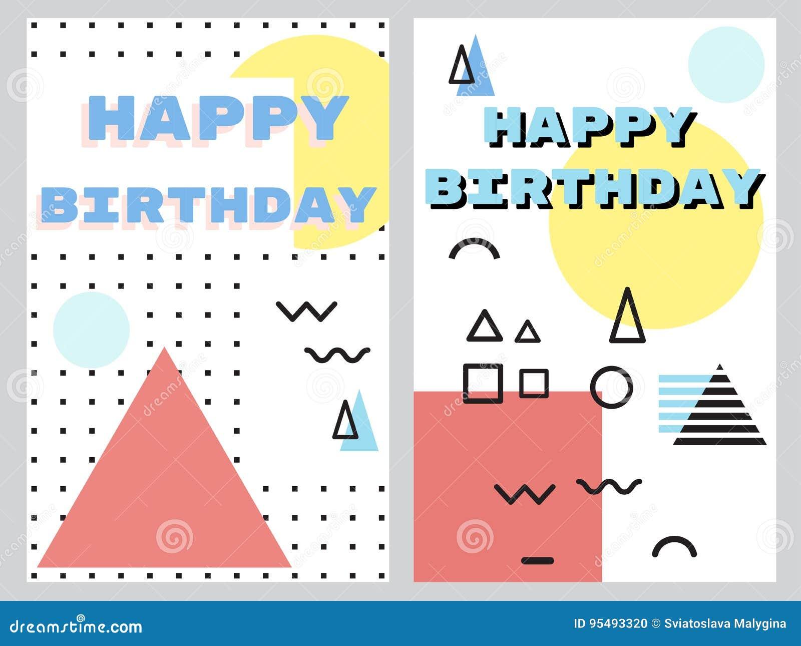 Grupo de feliz aniversario dos cartões abstratos
