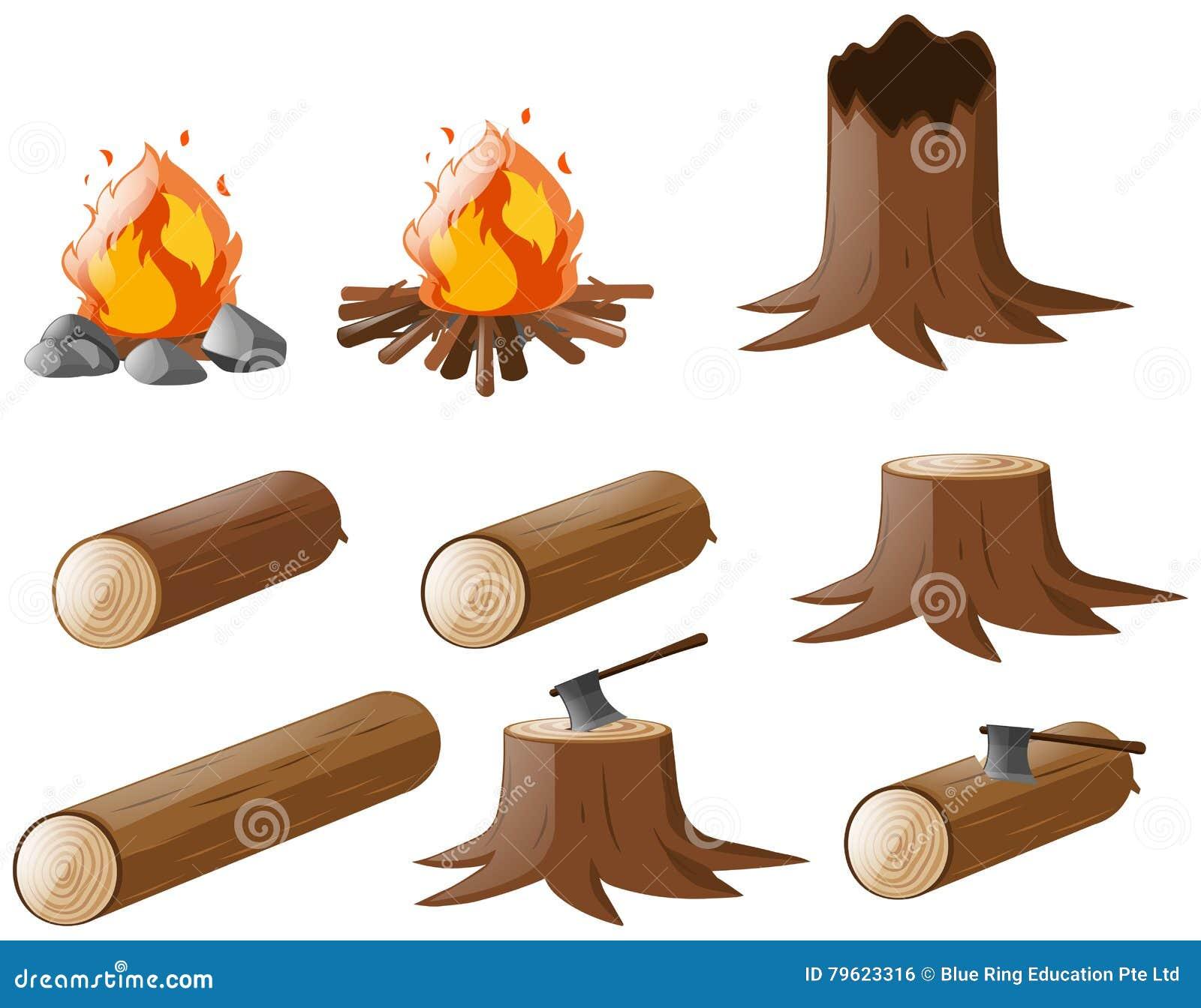 Grupo de firewoods e de fogueira