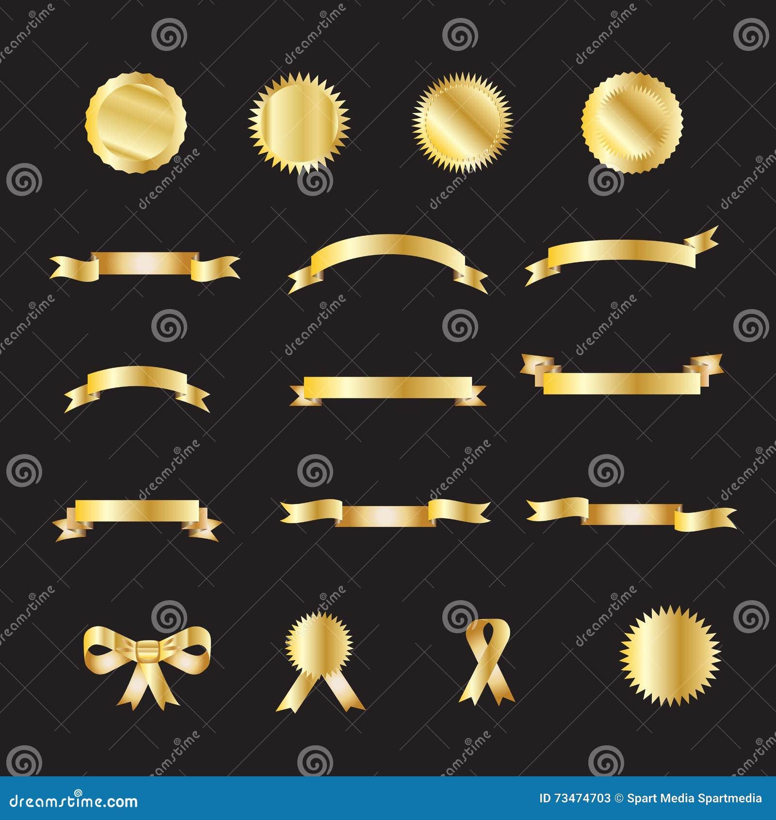 Grupo de fitas do luxo do ouro