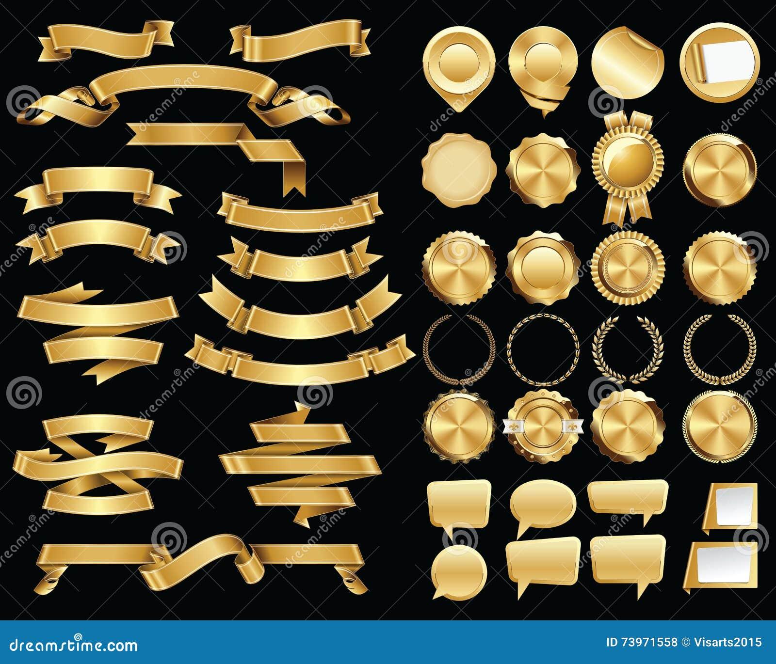 Grupo de fitas do ouro e selos e crachás do certificado