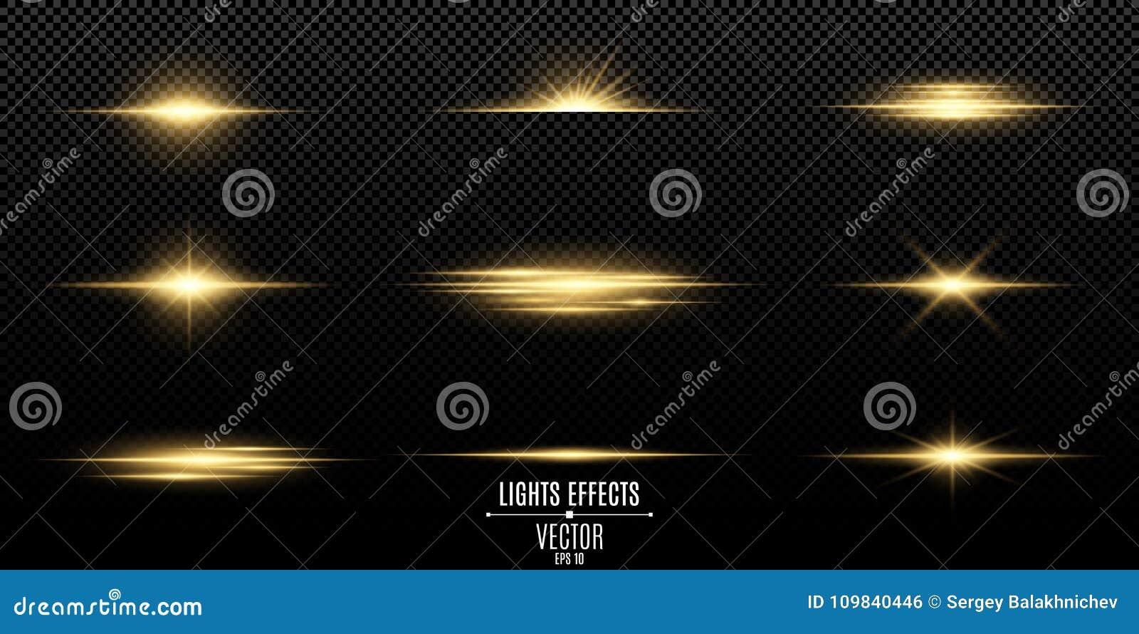 Grupo De Flashes De Luzes E De Faíscas Luzes Douradas Abstratas