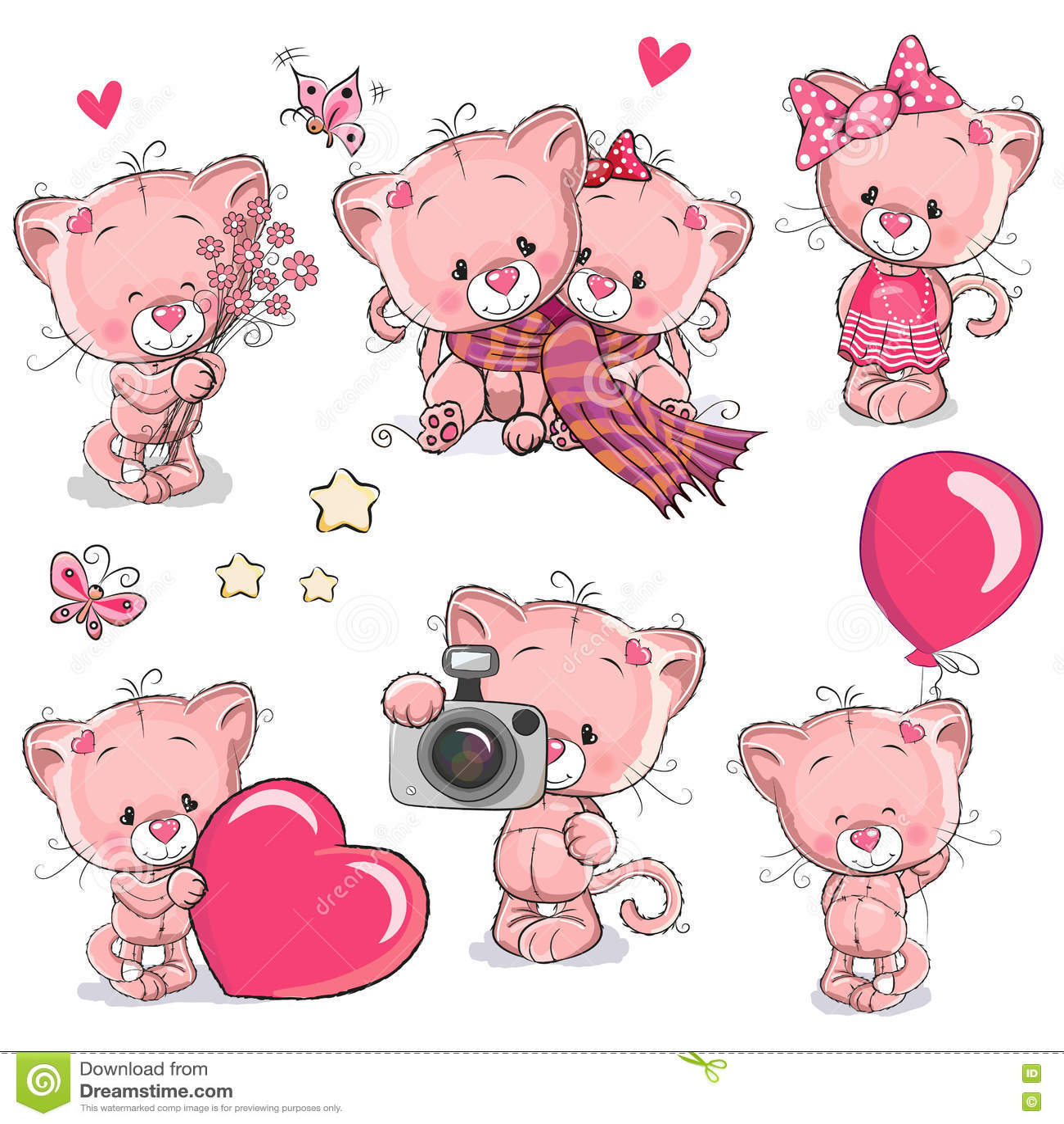 Grupo de gatinho bonito dos desenhos animados