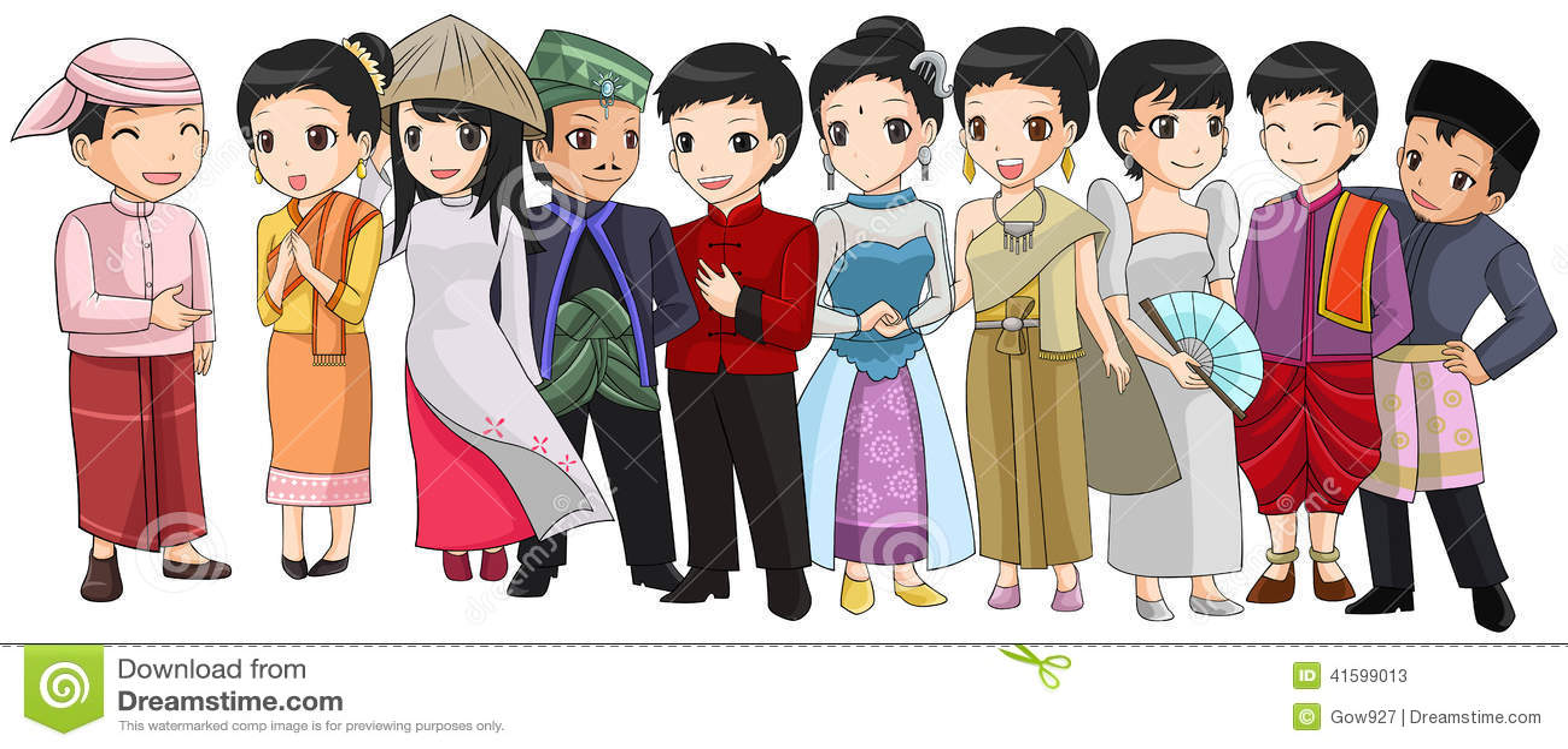 Grupo de gente de Asia sudoriental con diversa raza