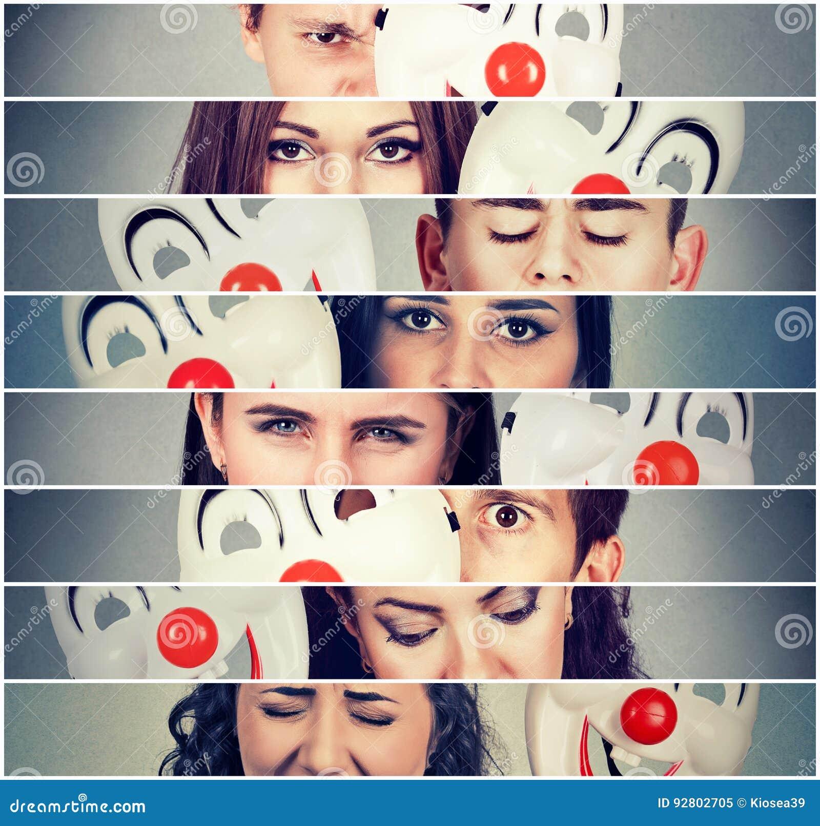Grupo de gente enojada triste que oculta emociones reales detrás de la máscara del payaso