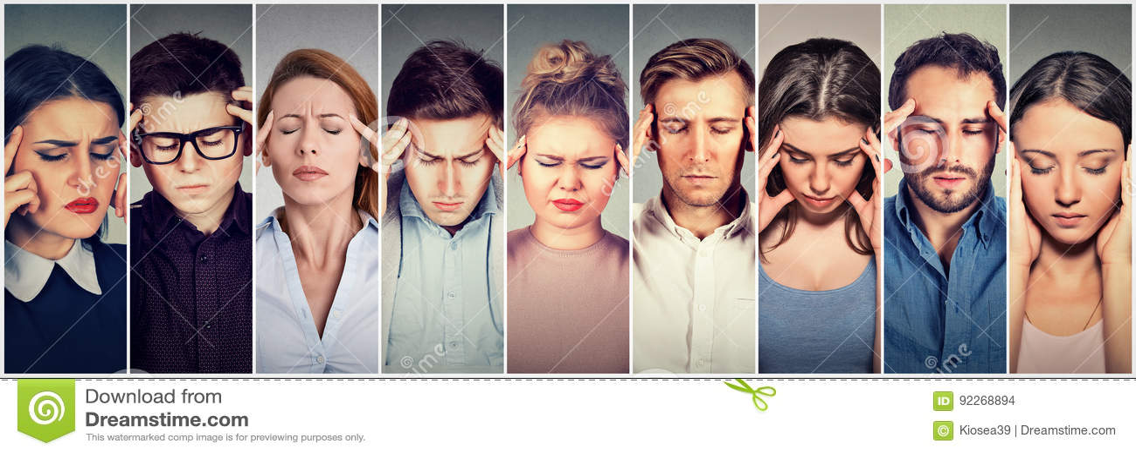 Grupo de gente subrayada que tiene dolor de cabeza