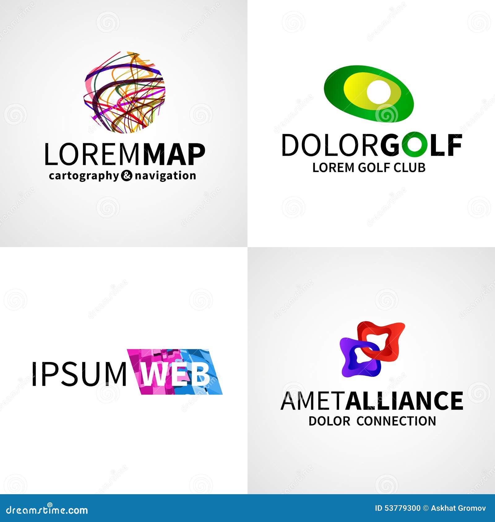 Grupo de golfe abstrato colorido moderno da aliança da Web