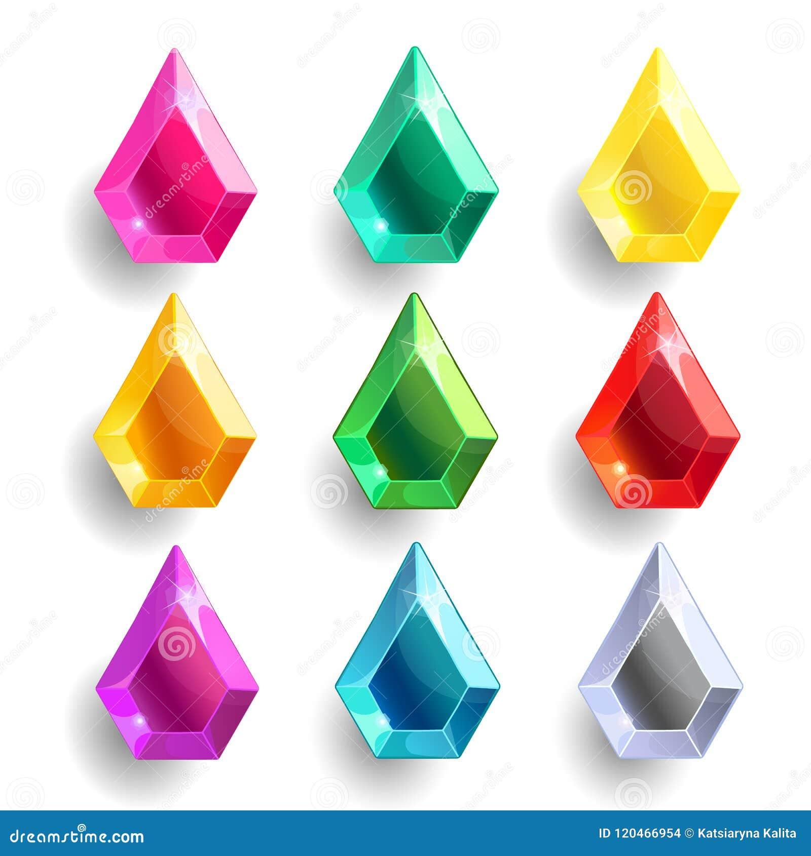 Grupo de gota dos desenhos animados, cristais diferentes da cor da pera
