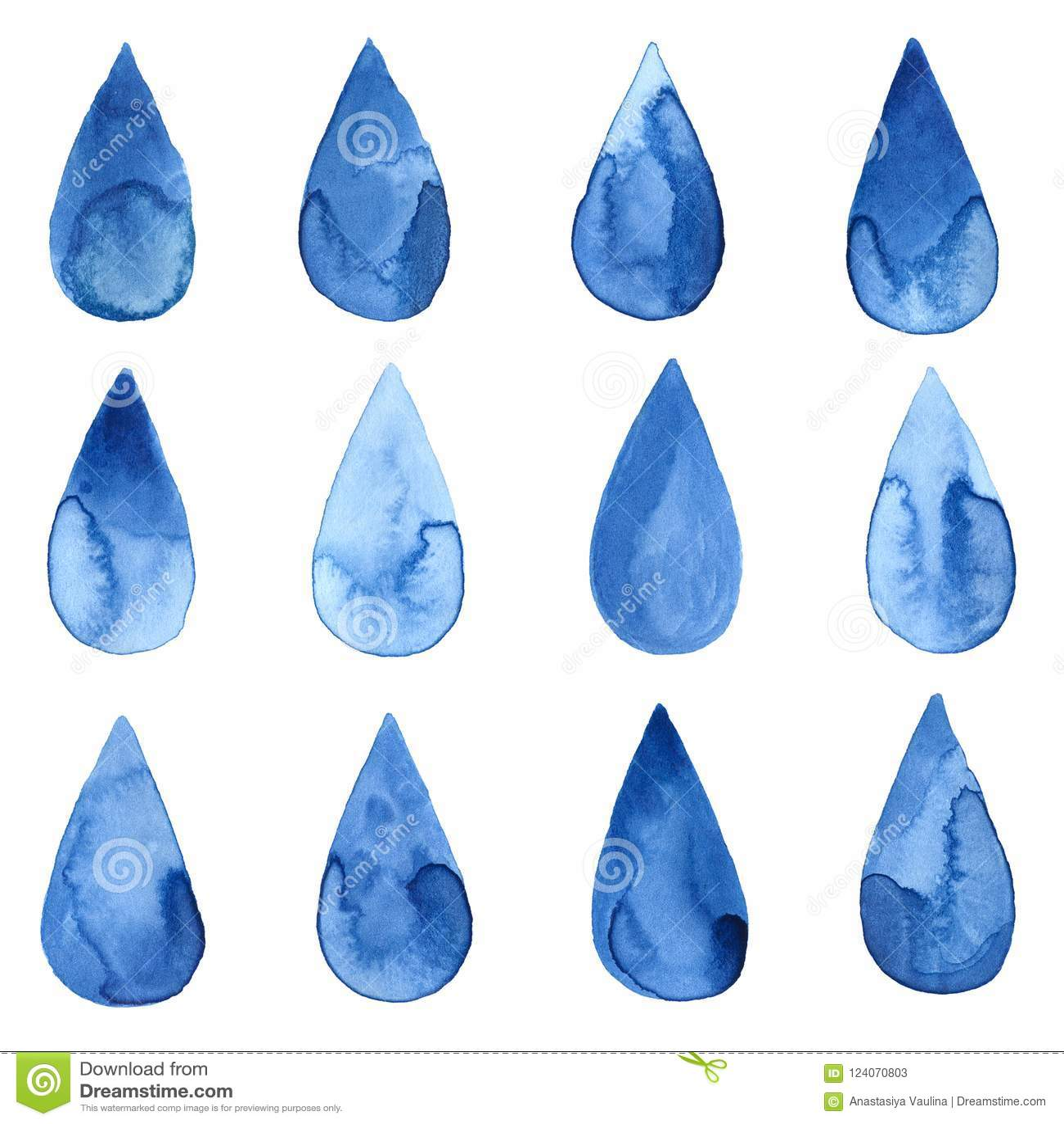 Grupo de gotas azuis do watercolour