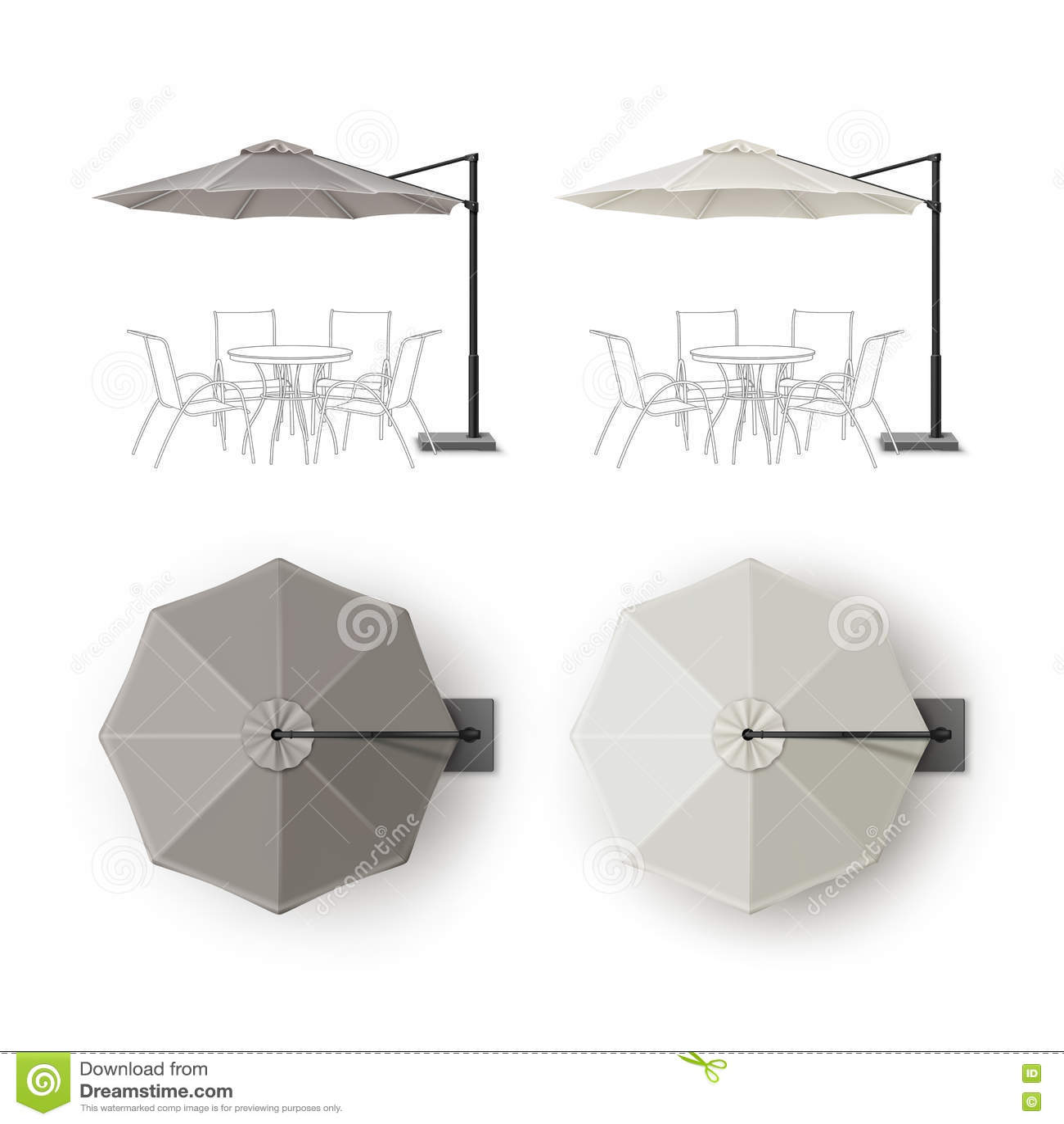 Grupo de guarda-chuva redondo do restaurante exterior do pátio