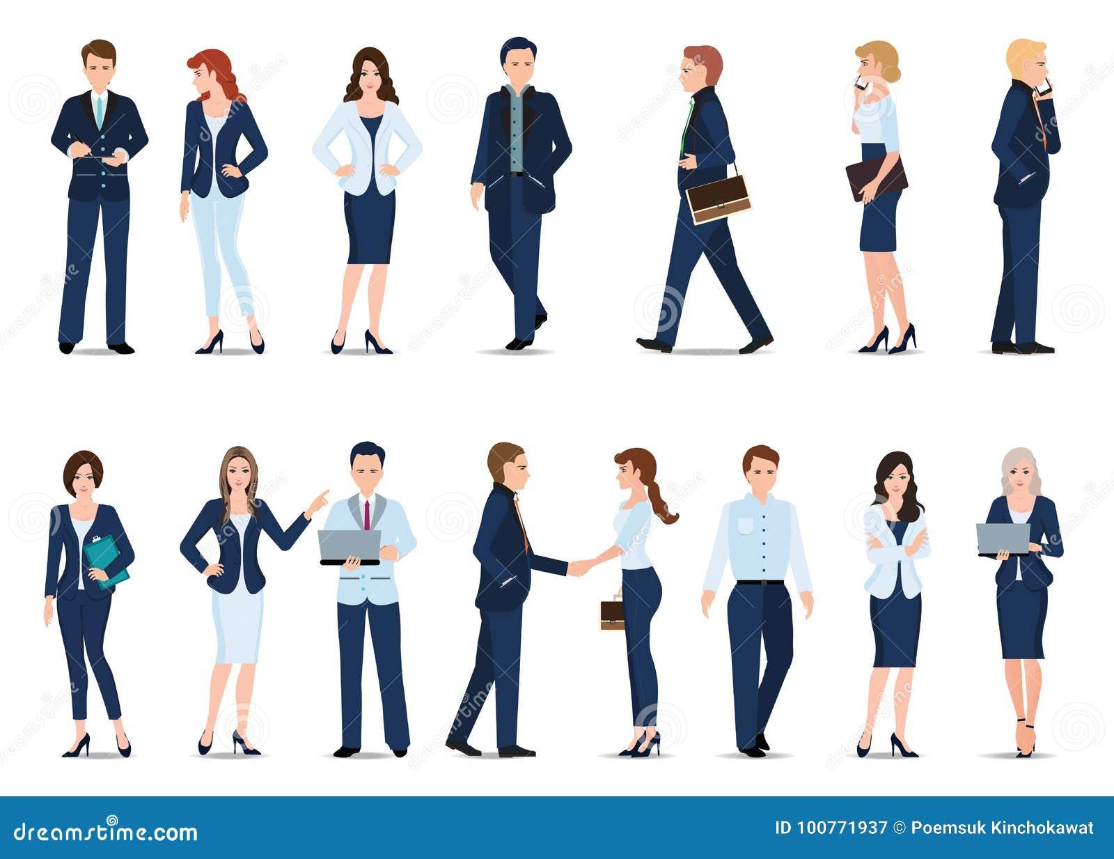 Grupo de homem de negócio e de mulher de negócio isolados no branco