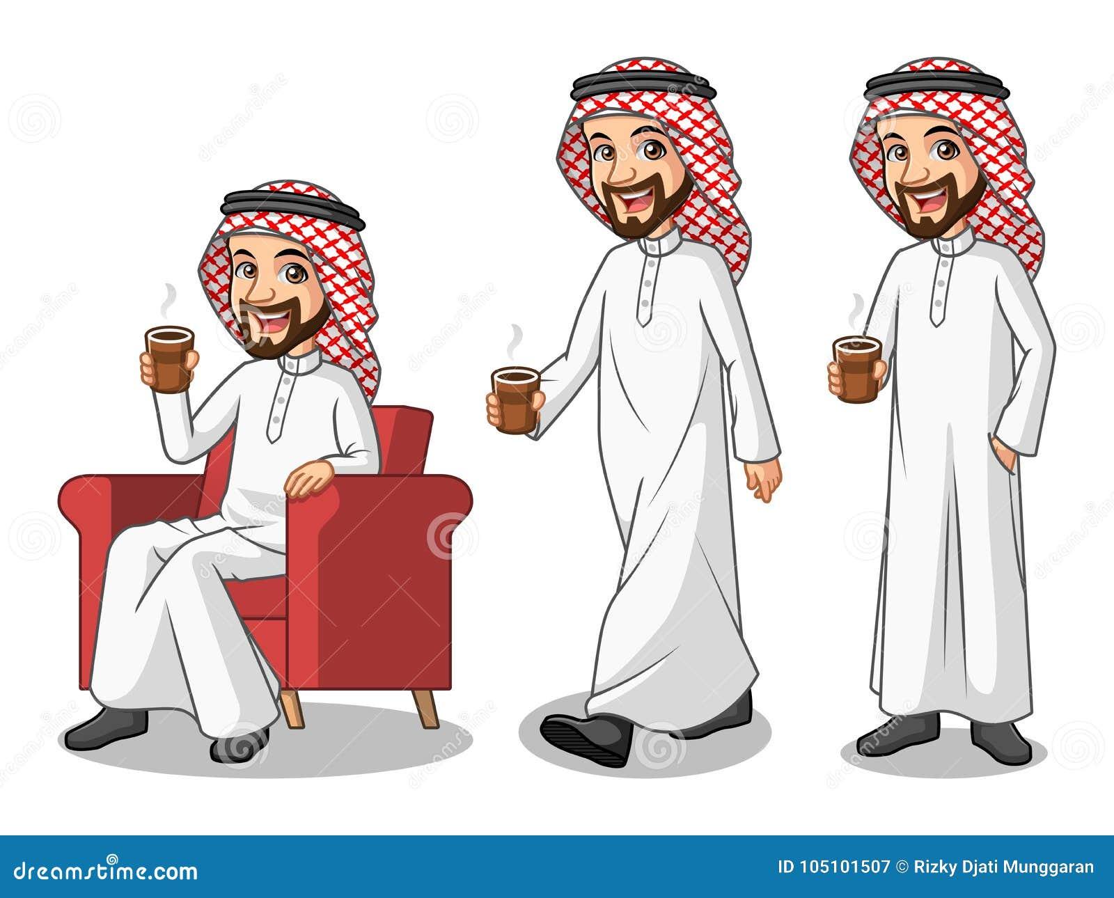Grupo de homem de negócios Saudi Arab Man que faz uma ruptura com beber um café