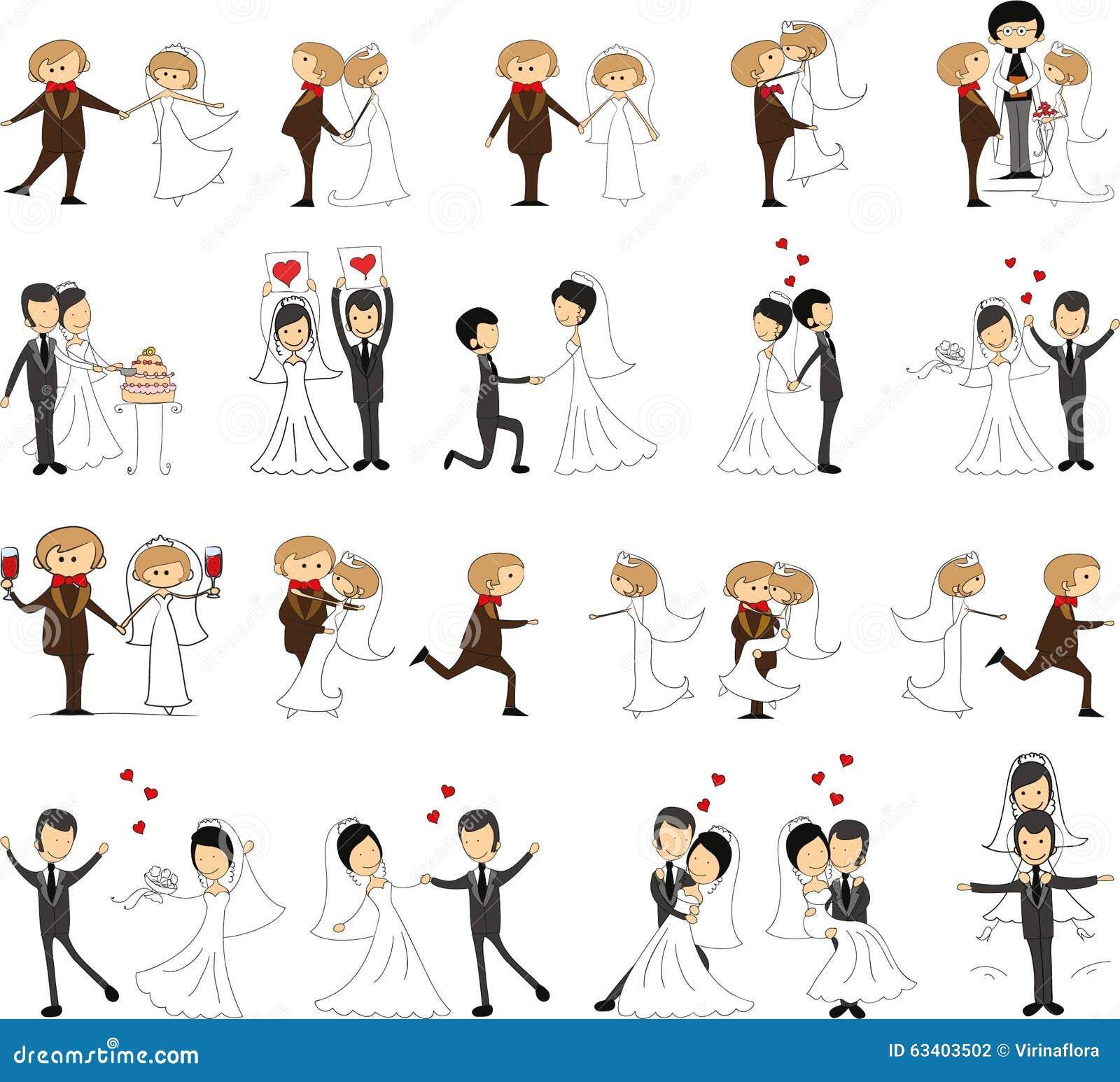 Grupo de imagens do casamento