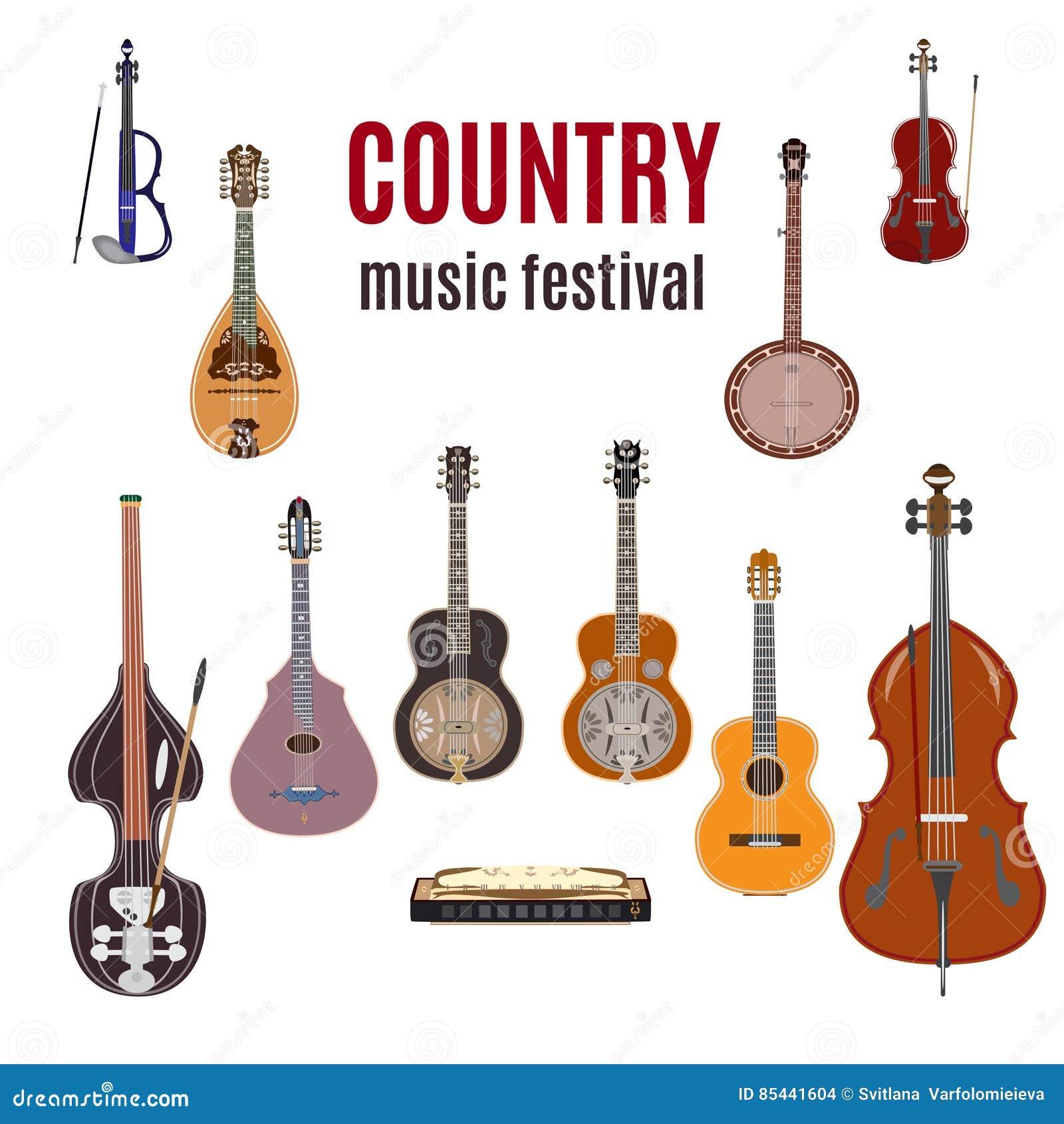 Grupo de instrumentos de música country, projeto liso do vetor