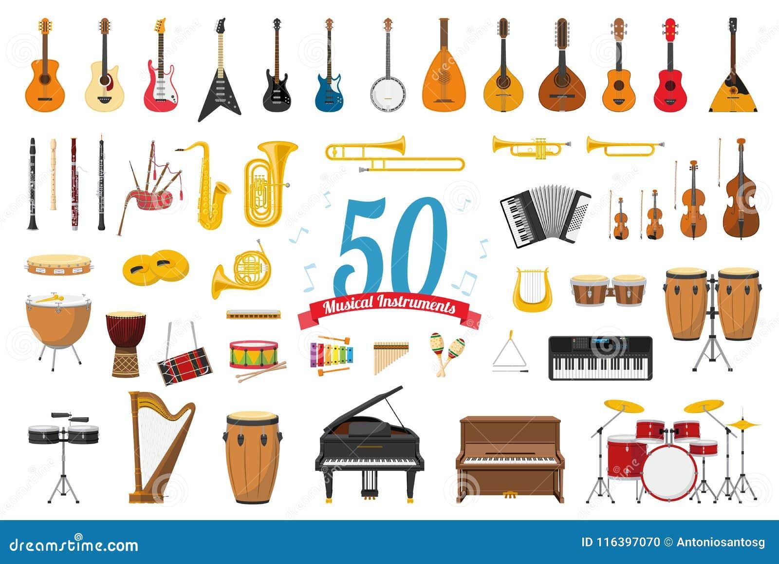Grupo de 50 instrumentos musicais no estilo dos desenhos animados isolados no fundo branco