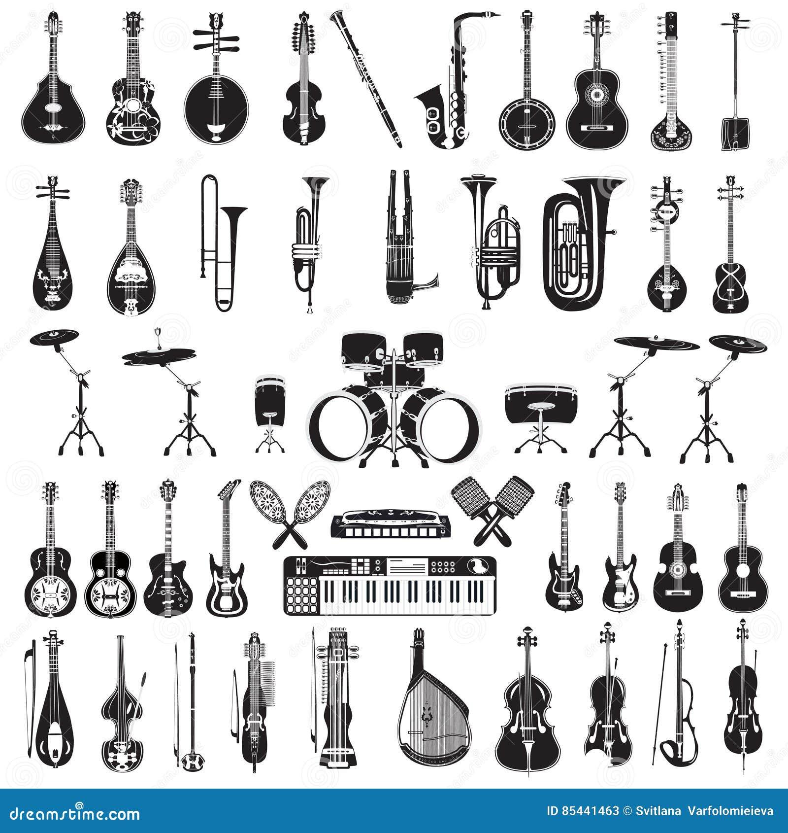 Grupo de instrumentos musicais preto e branco, estilo liso do vetor