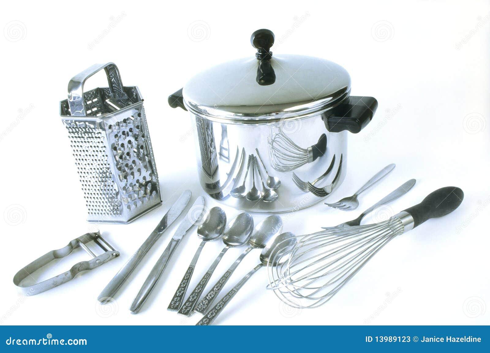 Grupo de items de la cocina del acero inoxidable