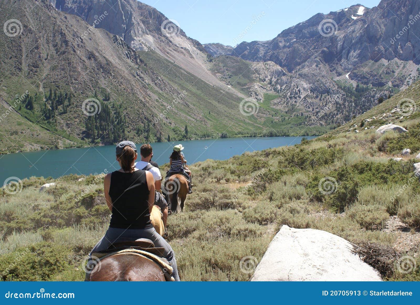 Grupo de jinetes de lomo de caballo