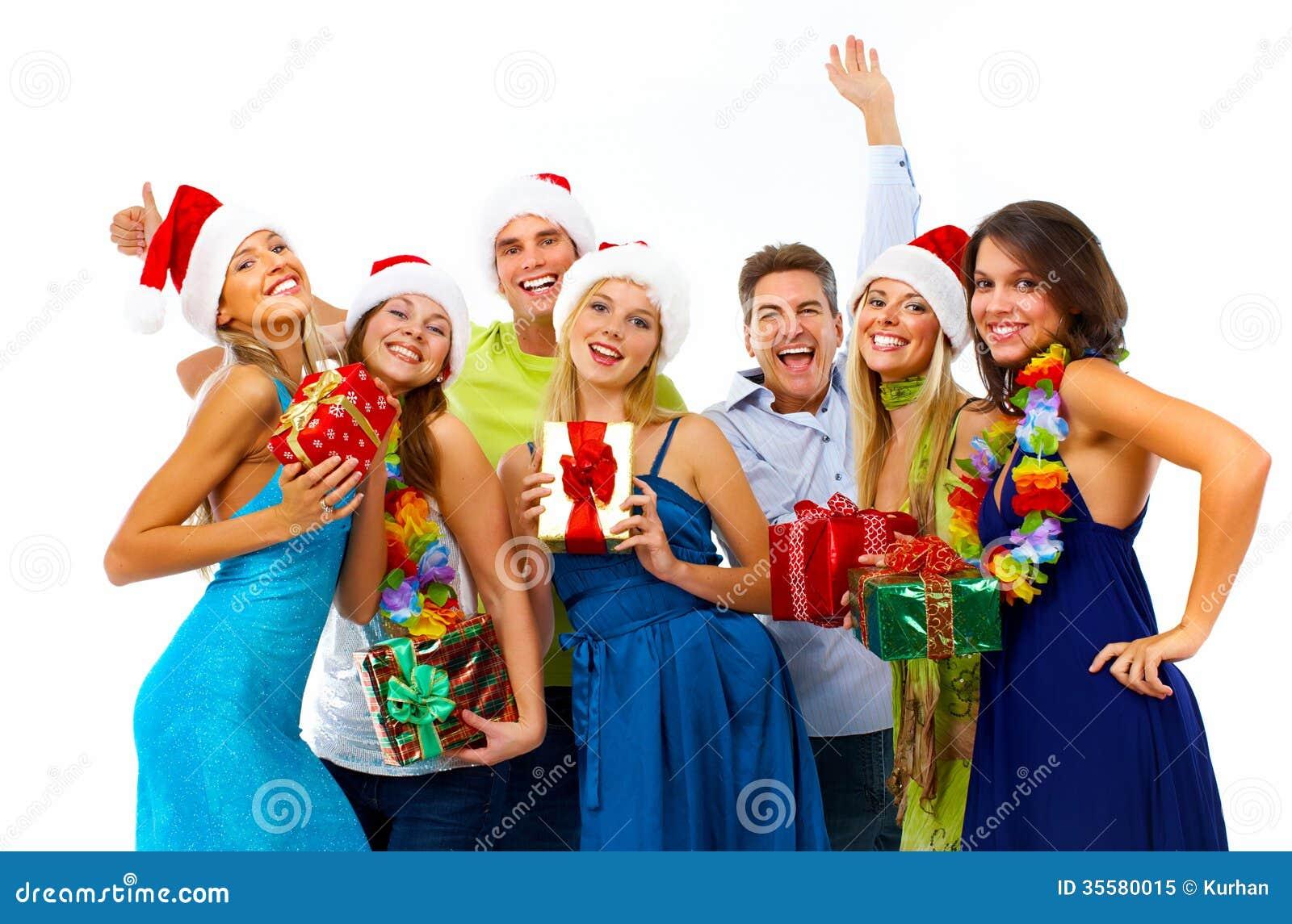 Gente Feliz En Navidad.Grupo De La Gente De La Feliz Navidad Imagen De Archivo