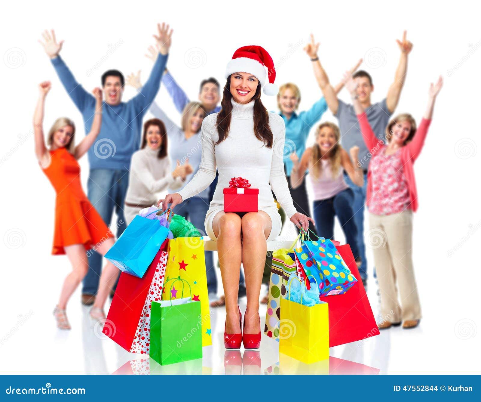 Gente Feliz En Navidad.Grupo De La Gente De La Feliz Navidad Foto De Archivo