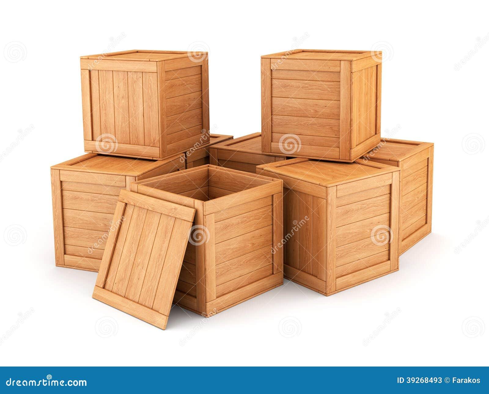 Grupo de las cajas de madera stock de ilustraci n - Dibujos para decorar cajas de madera ...