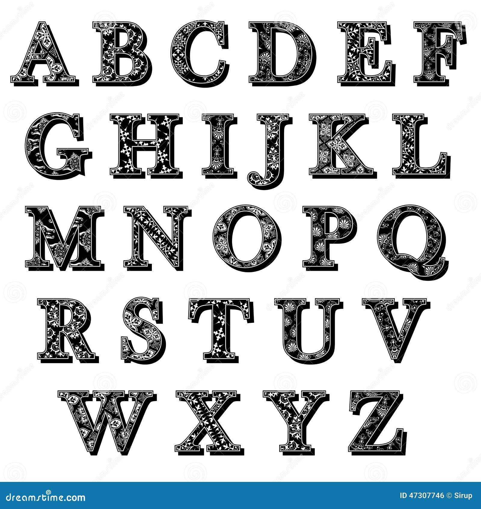 Grupo De Letras Do Alfabeto Do Antiqua De Abc Com Teste Padrão