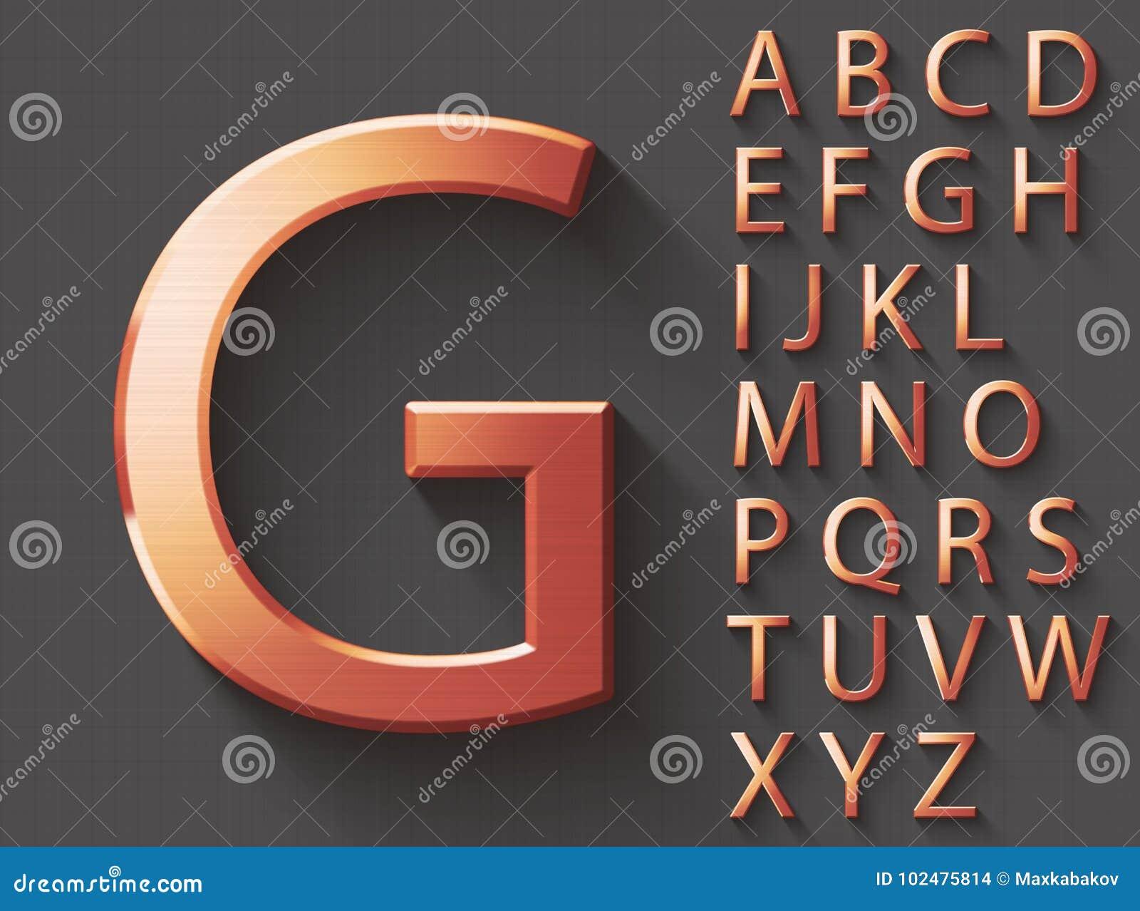 Grupo de letras inglesas caixas do cobre 3D