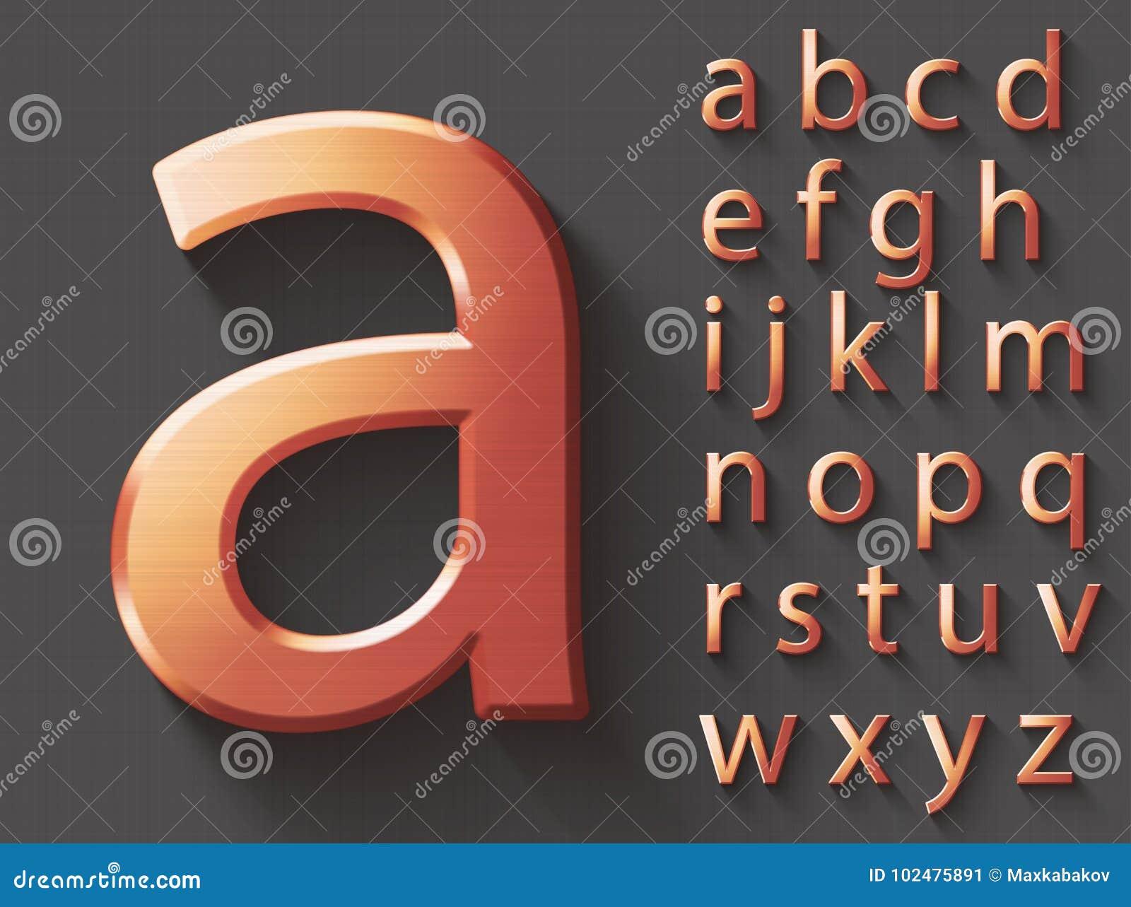 Grupo de letras inglesas lowercase do cobre 3D