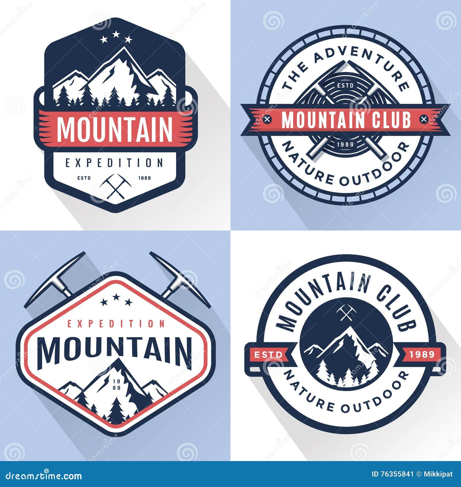 Grupo de logotipo, de crachás, de bandeiras, de emblema para a montanha, de caminhada, de acampamento, de expedição e de aventura