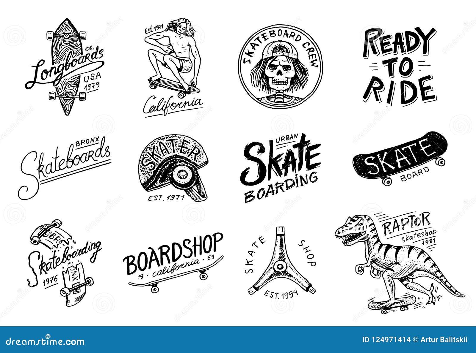 Grupo de logotipo Skateboarding das etiquetas Ilustração do vetor com o esqueleto para o skater Projeto urbano para crachás, t-sh