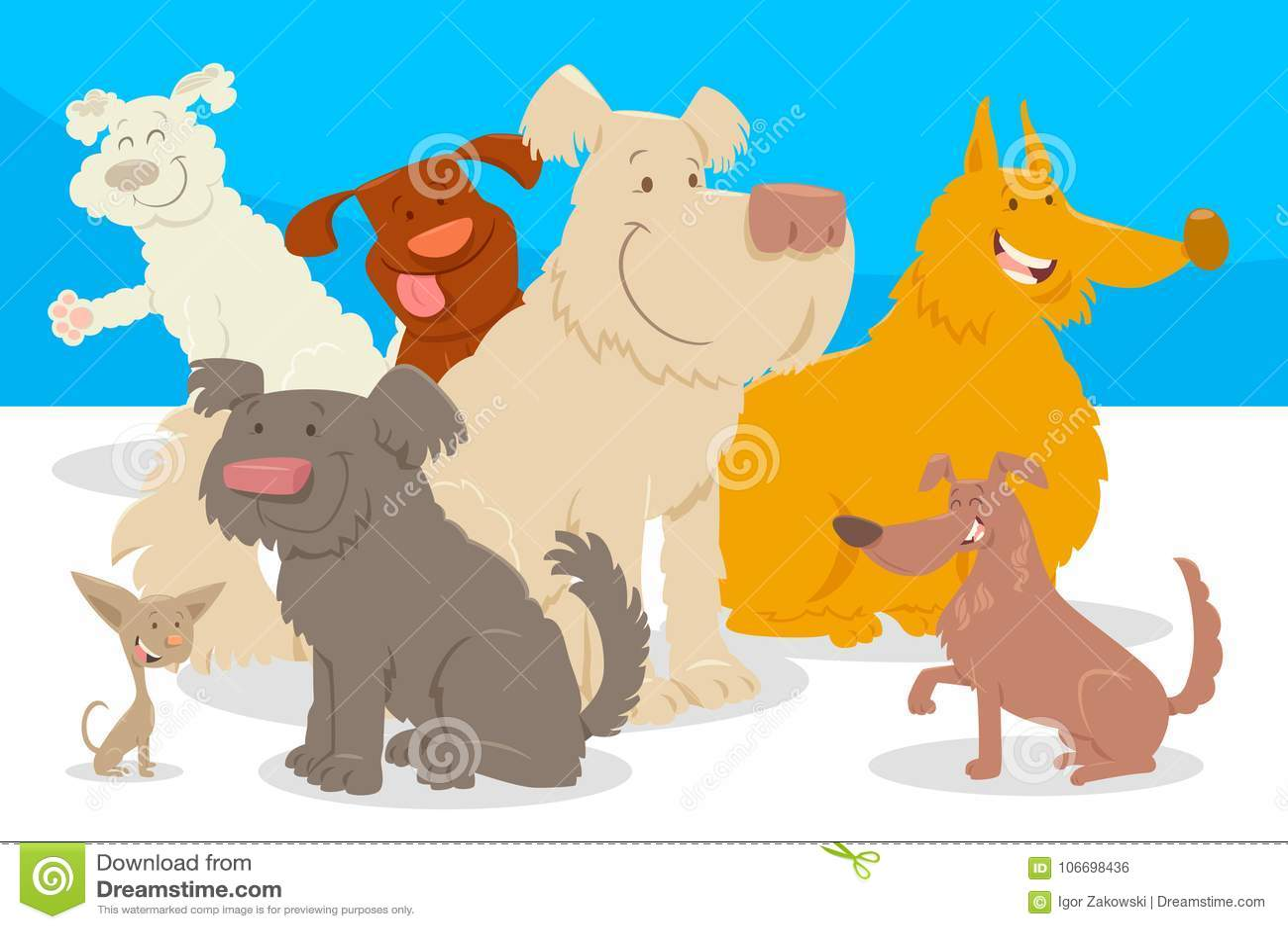 Grupo De Los Personajes De Dibujos Animados De Los Perros Y De Los
