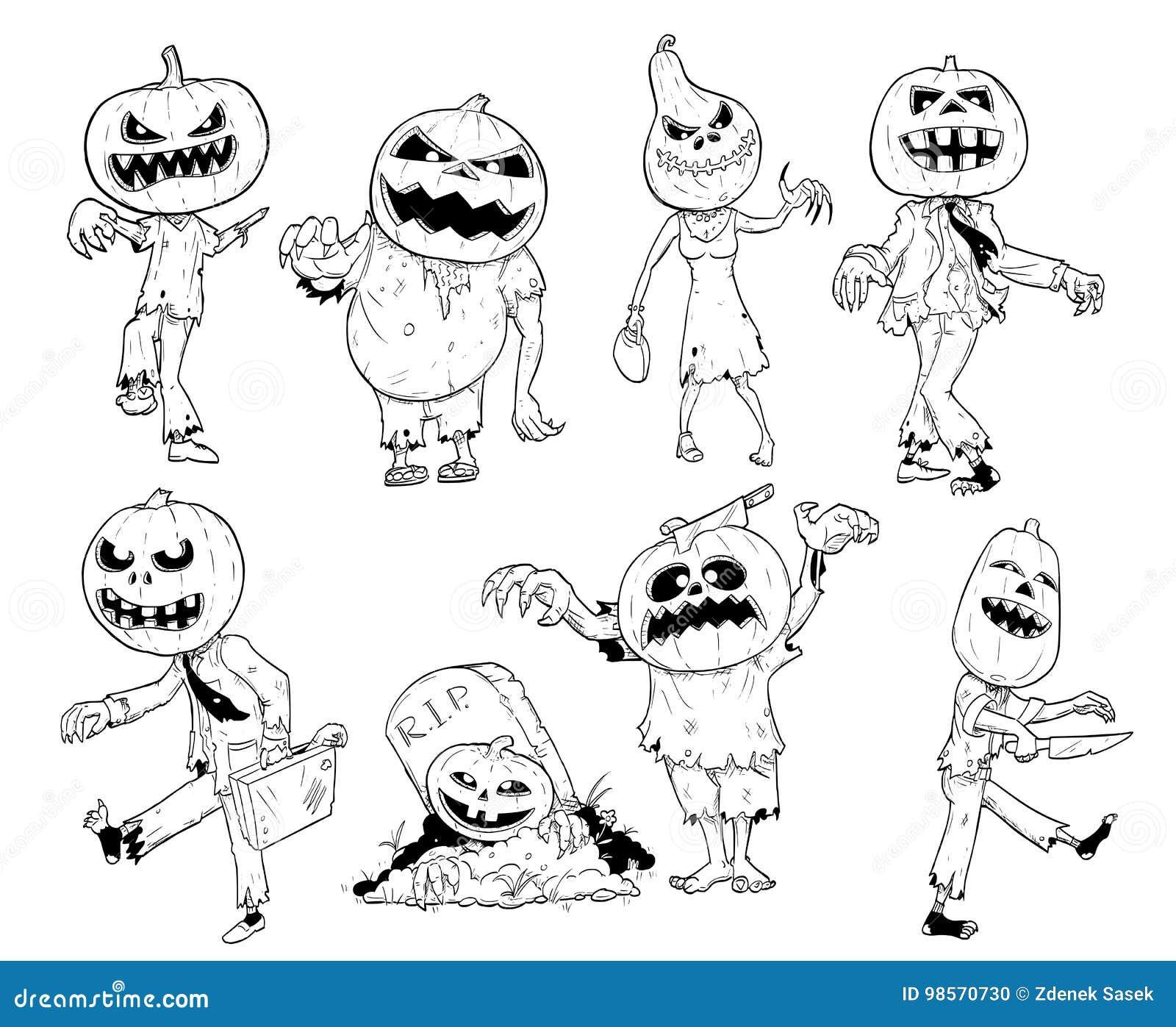 Grupo de mão bonito que tira ilustrações do zombi da abóbora de Dia das Bruxas