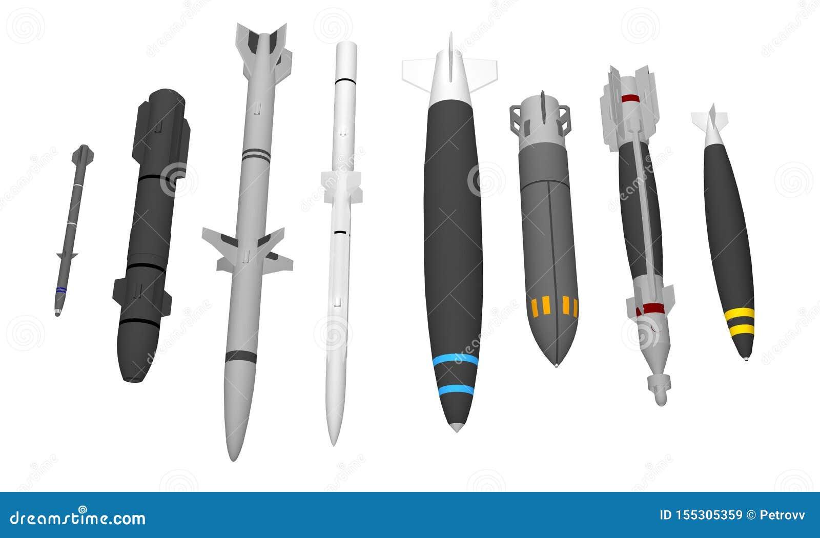 Grupo de mísseis militares diferentes isolados no branco