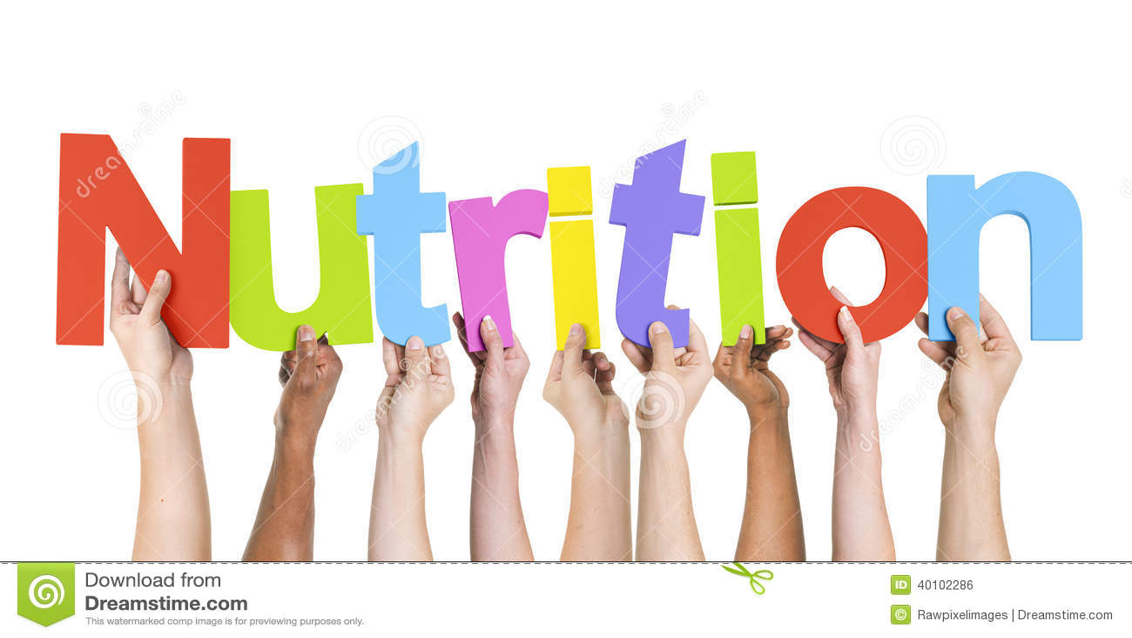 Grupo de manos multiétnicas que llevan a cabo la nutrición