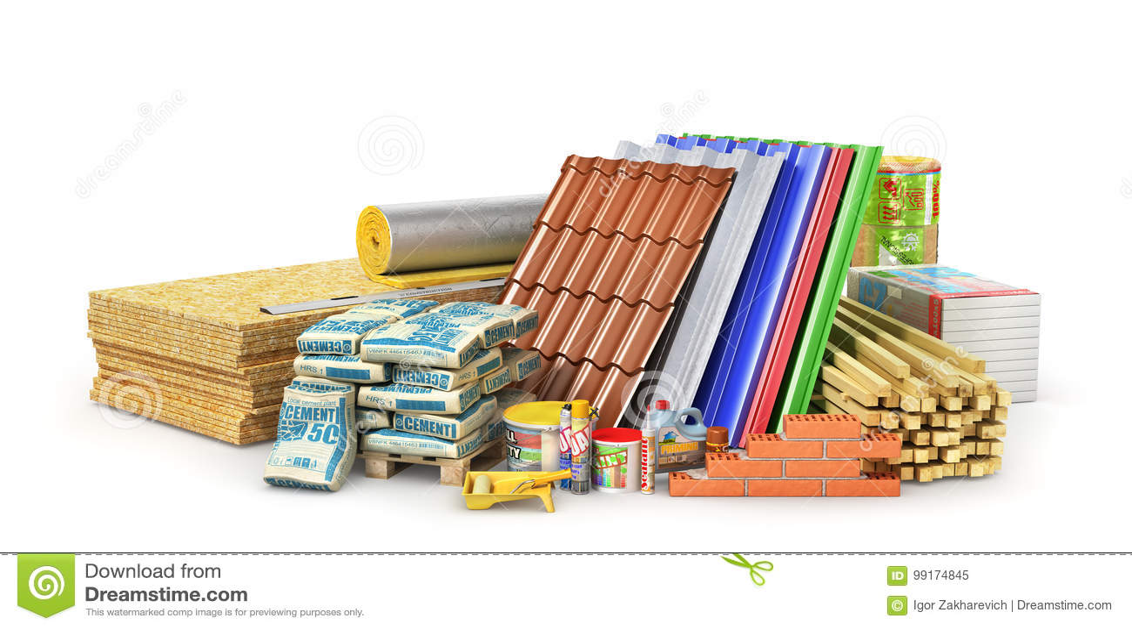 Grupo de materiais e de ferramentas de construção isolados em um fundo branco
