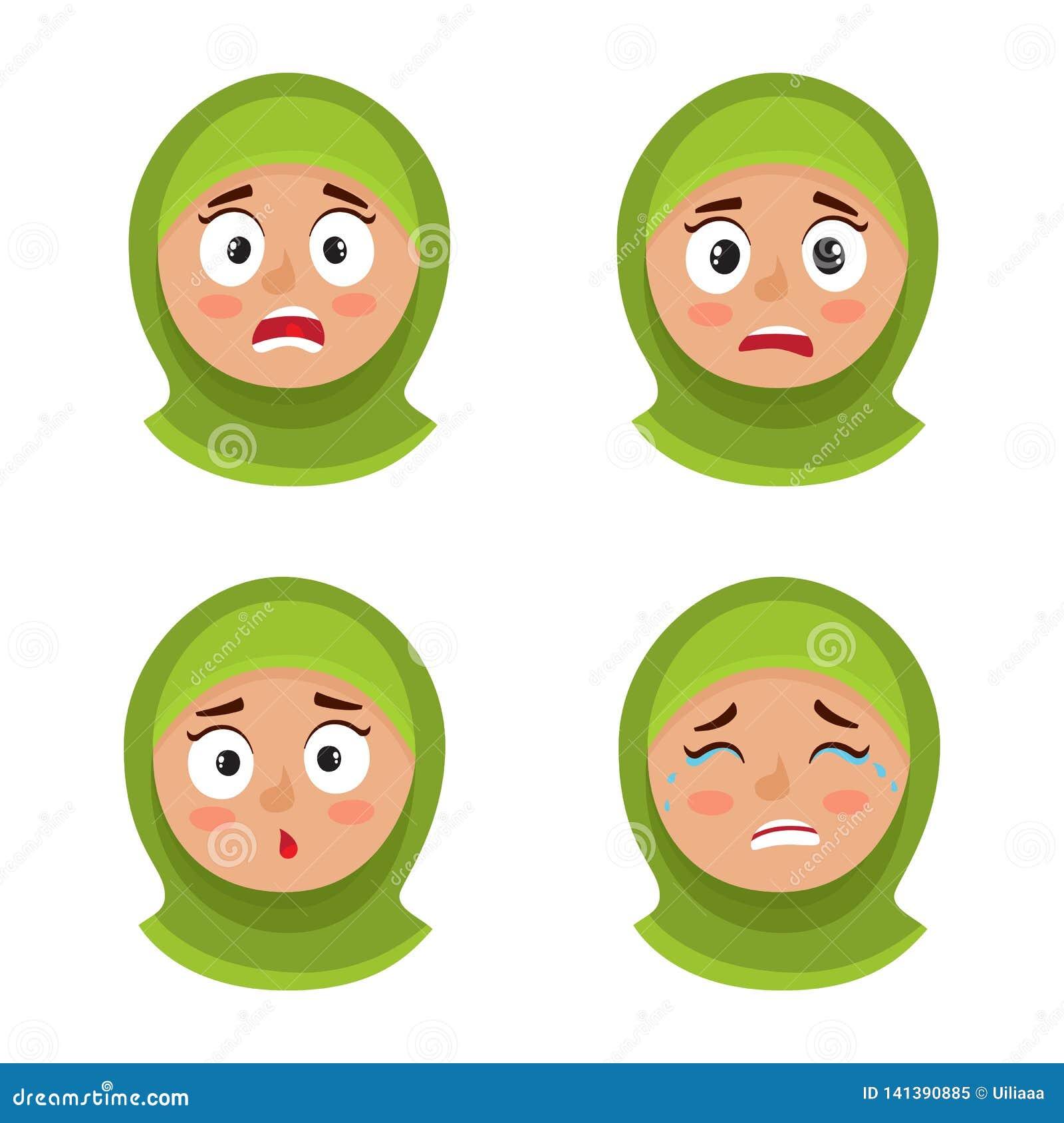 Grupo de menina árabe com expressão assustado da cara do hijab isolada no branco