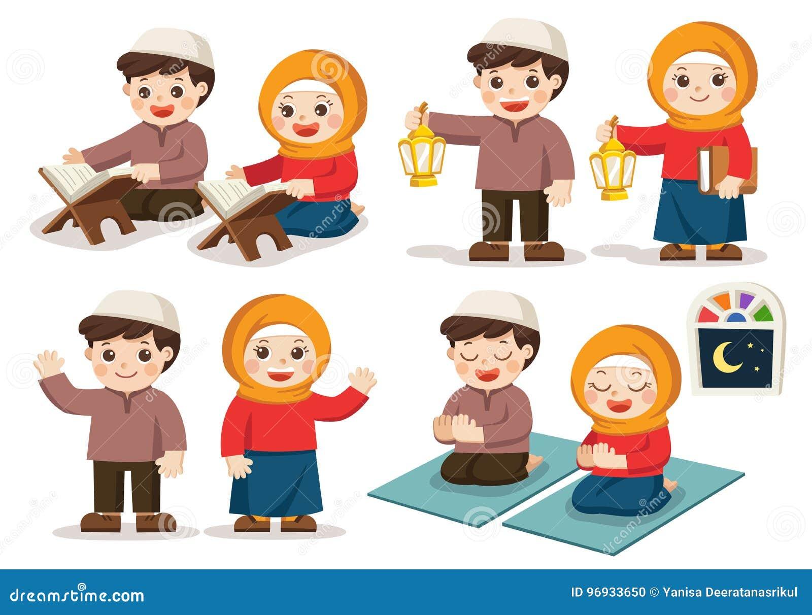 Grupo de menino e de menina muçulmanos