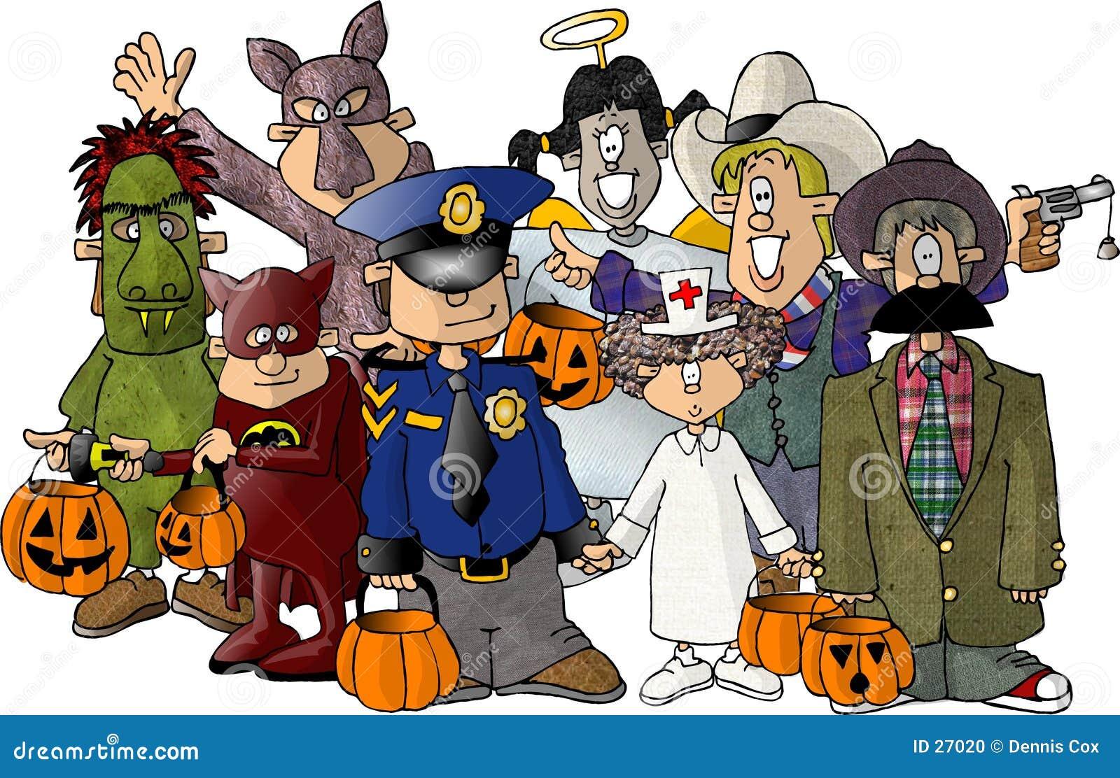Grupo de miúdos em seus trajes de Halloween