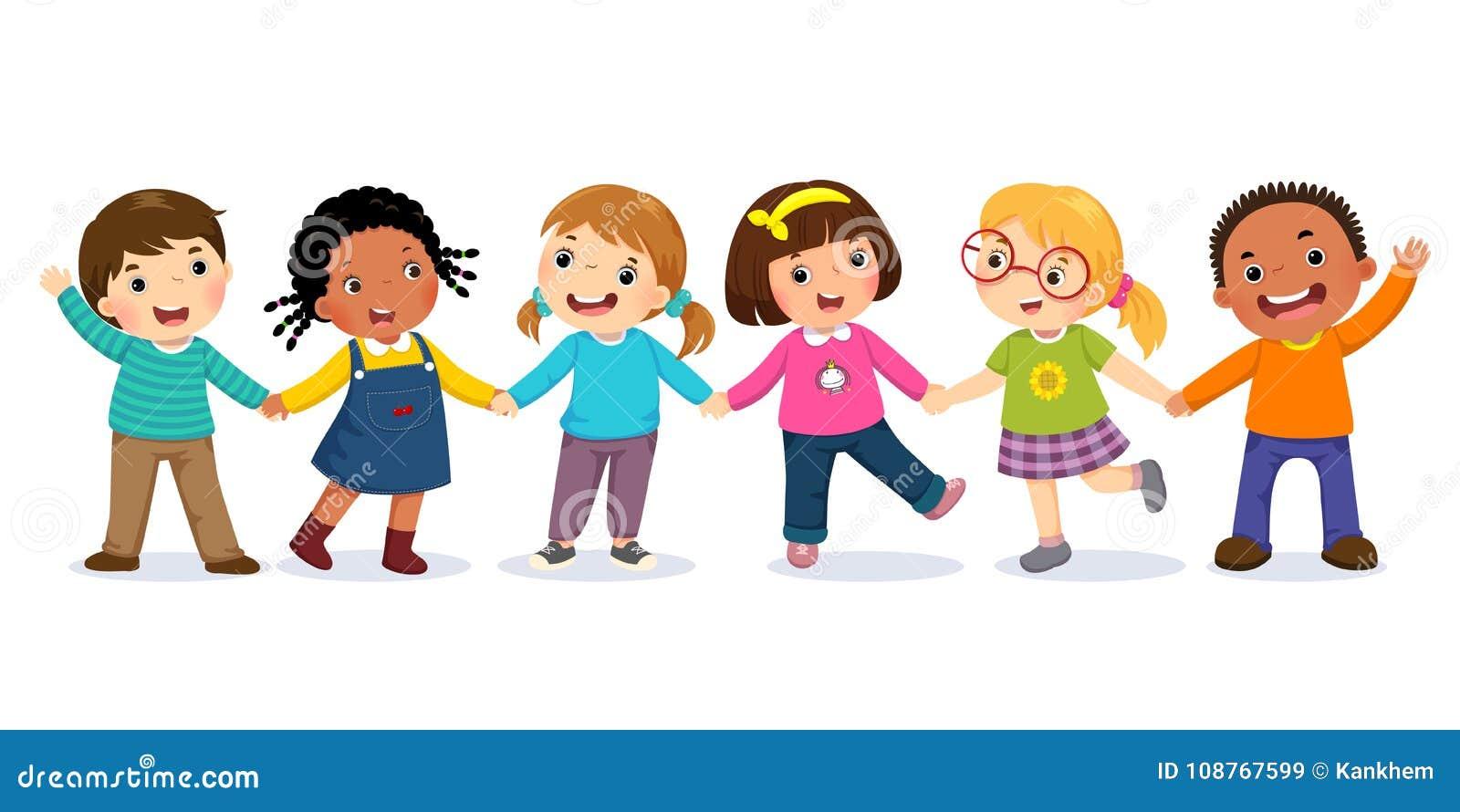 Grupo de miúdos felizes que prendem as mãos Conceito da amizade