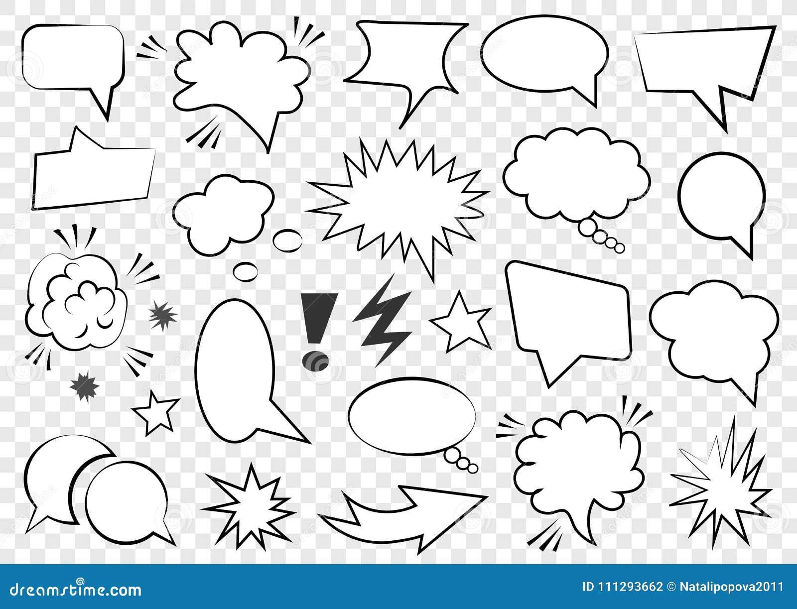 Grupo de molde vazio no estilo do pop art Reticulação cômica Dot Background da bolha do discurso do texto do vetor Nuvem vazia do