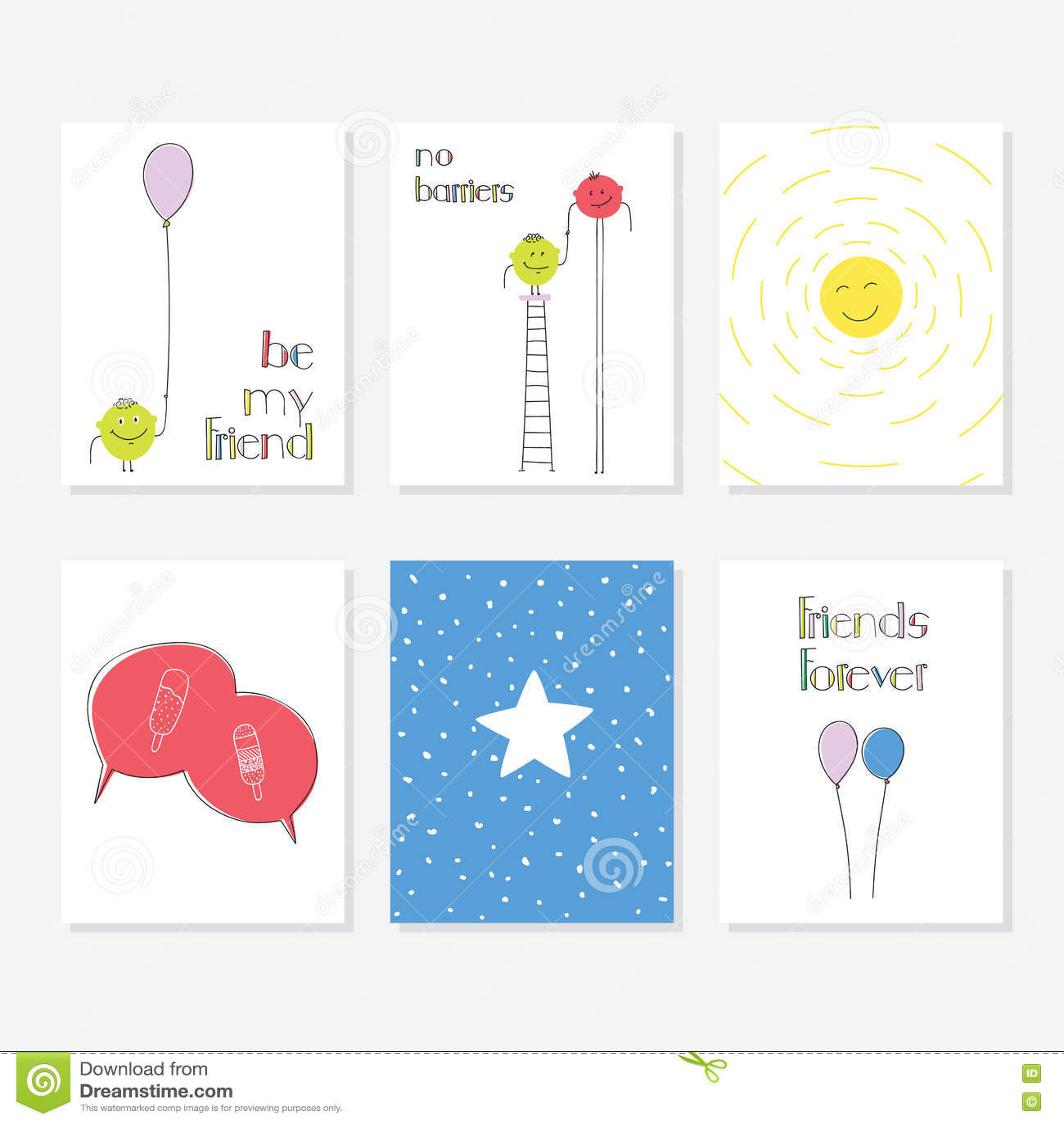 Grupo de 6 moldes criativos bonitos dos cartões com projeto do tema do amigo Entregue o cartão desenhado